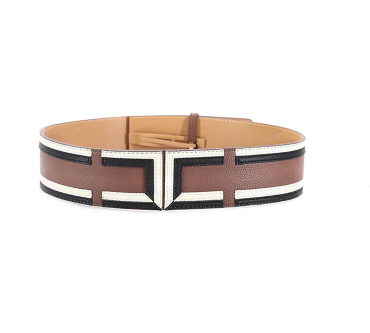 Cintura alta in ecopelle tricolor con logo Elisabetta Franchi ELISABETTA FRANCHI   Cintura   CT39S06E2038