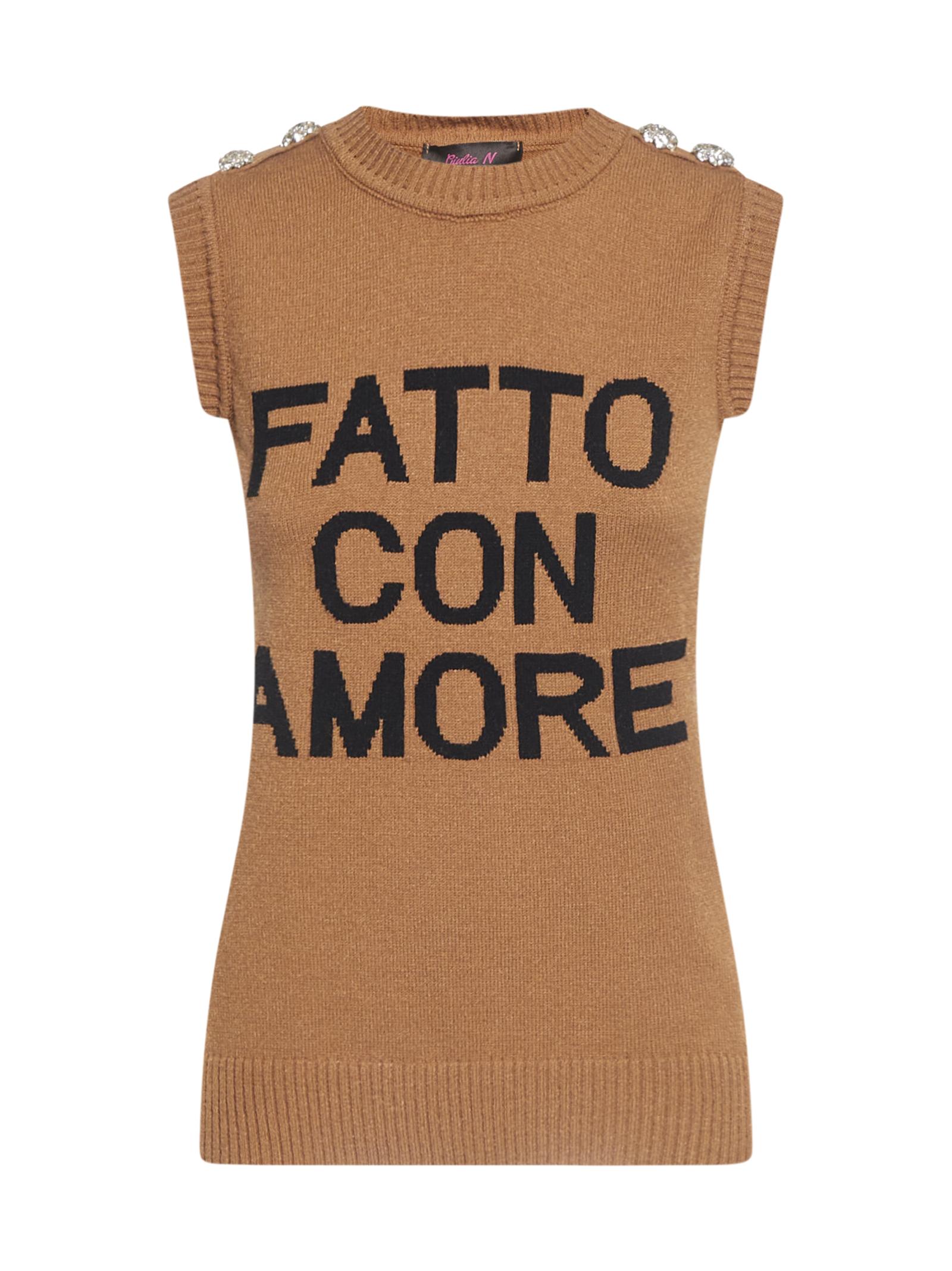 Maglione gilet ''Fatto con Amore'' Giulia N GIULIA N   Maglione   GI2025NOCCIOLA