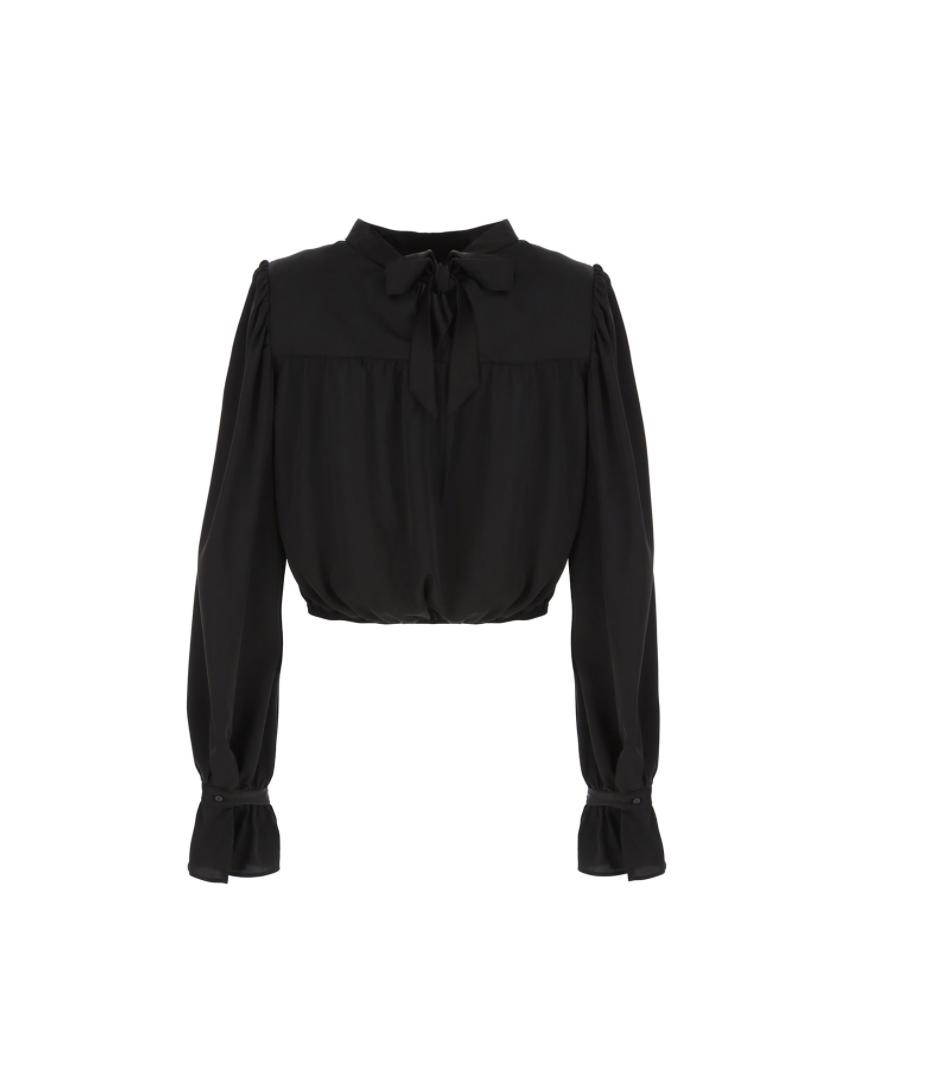 Camicia fluida con tie-neck sulla schiena Imperial IMPERIAL | Camicia | CJC5ACTNERO