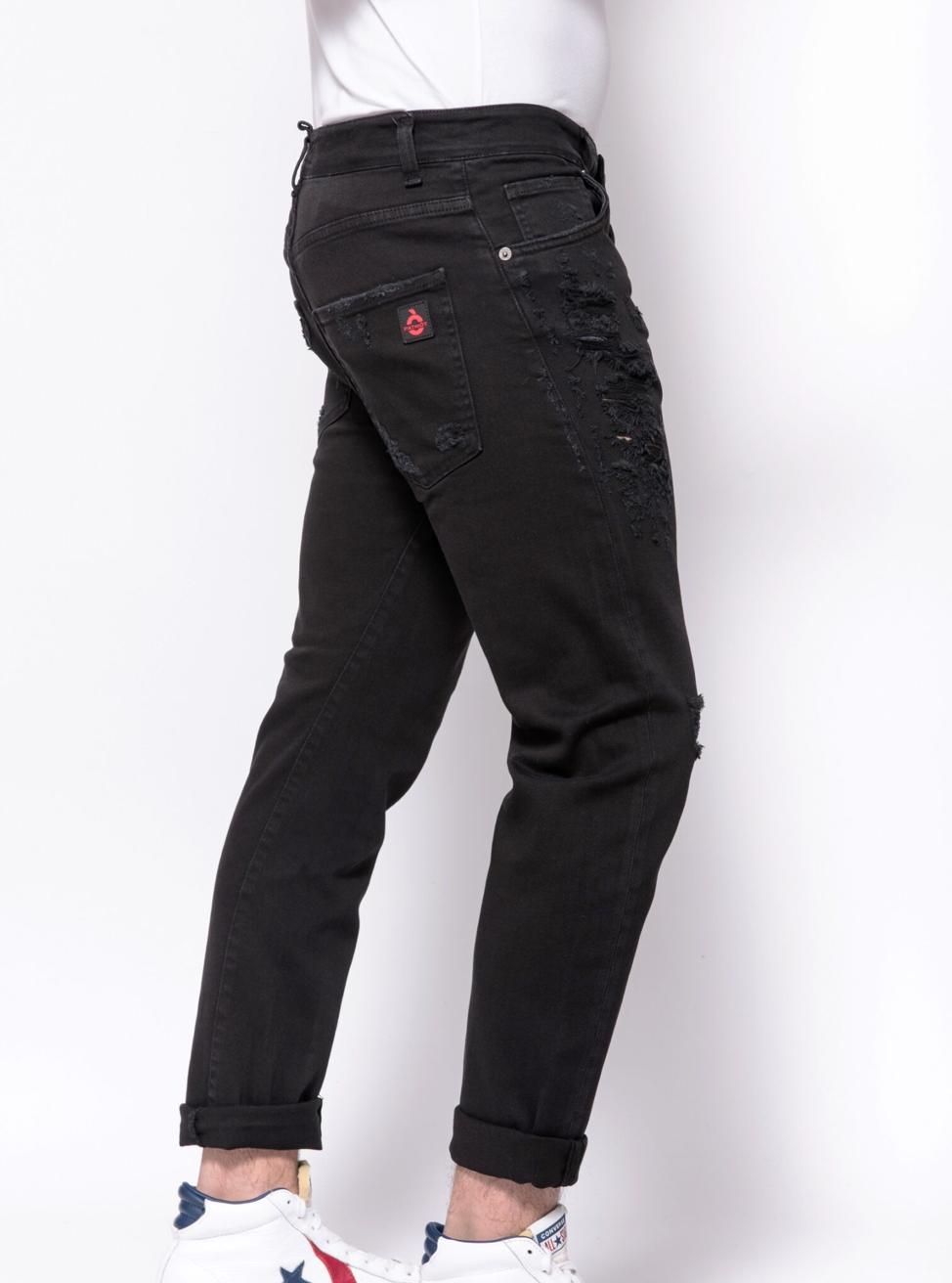 Jeans in denim Destroyed Patriòt PATRIOT | Jeans | PKAY880NERO