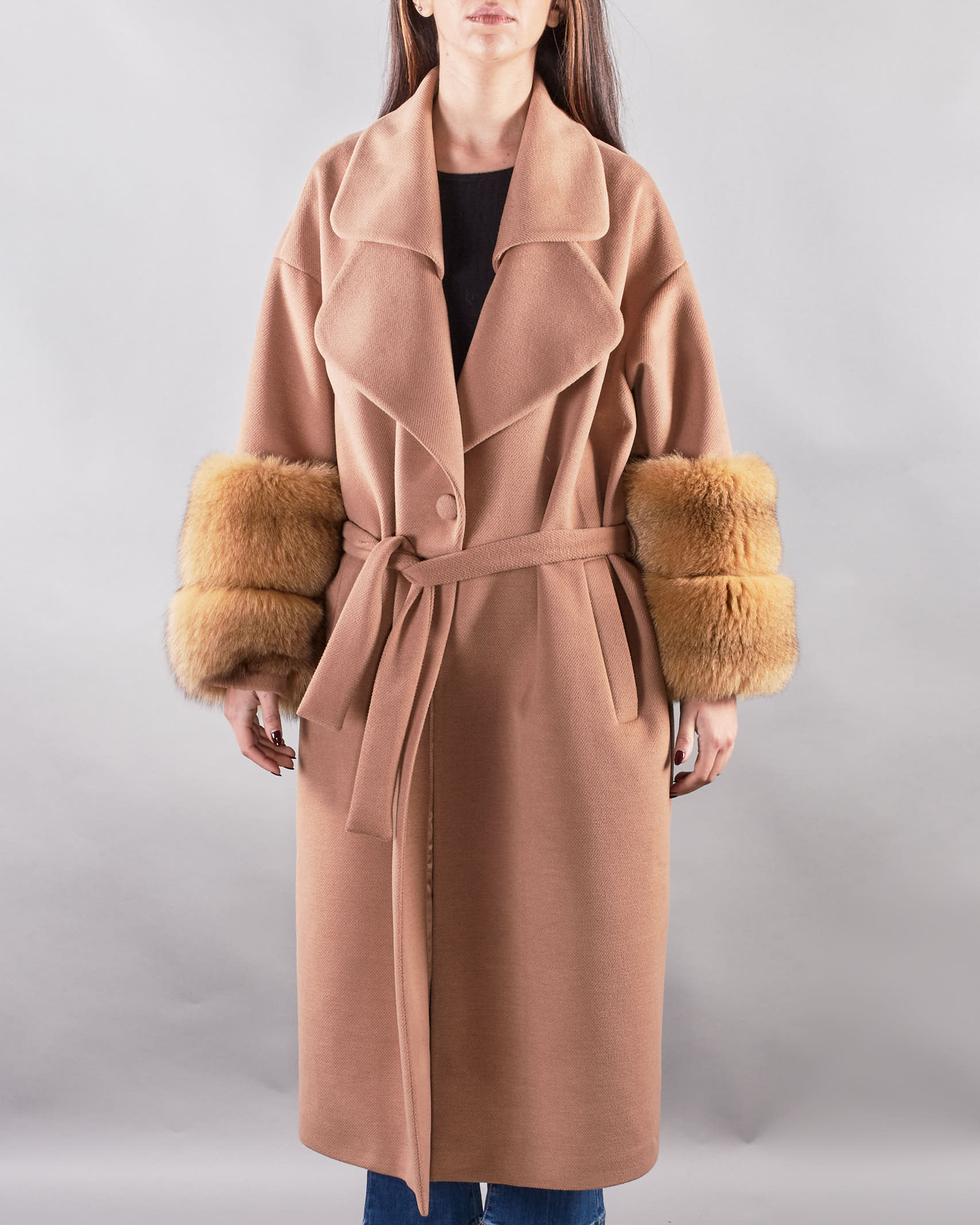 Cappotto con maniche in volpe Yes London YES LONDON   Cappotto   YL0120CAMMELLO
