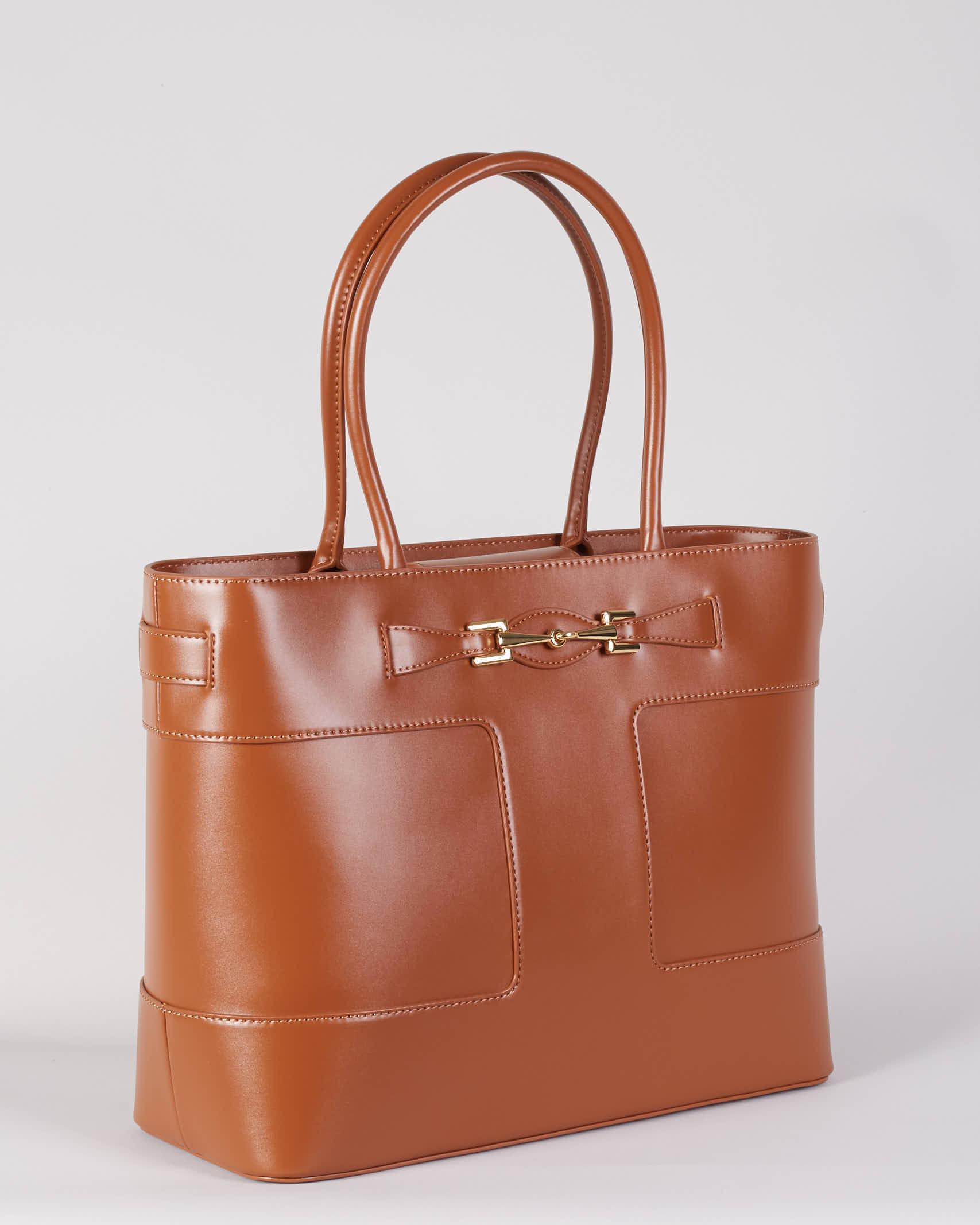 Shopper grande con morsetto light gold Elisabetta Franchi ELISABETTA FRANCHI | Borsa | BS15A16E2600