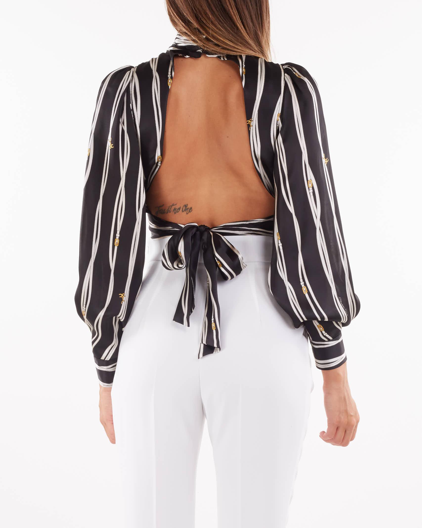 Camicia in raso di seta con scollo Elisabetta Franchi ELISABETTA FRANCHI | Camicia | CA29116E2685