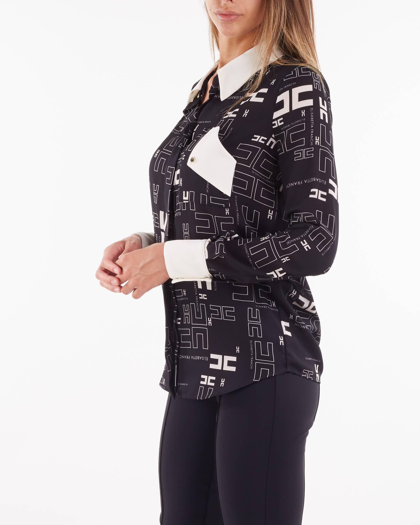 Camicia in georgette con stampa logo bicolor Elisabetta Franchi ELISABETTA FRANCHI   Camicia   CA33216E2685