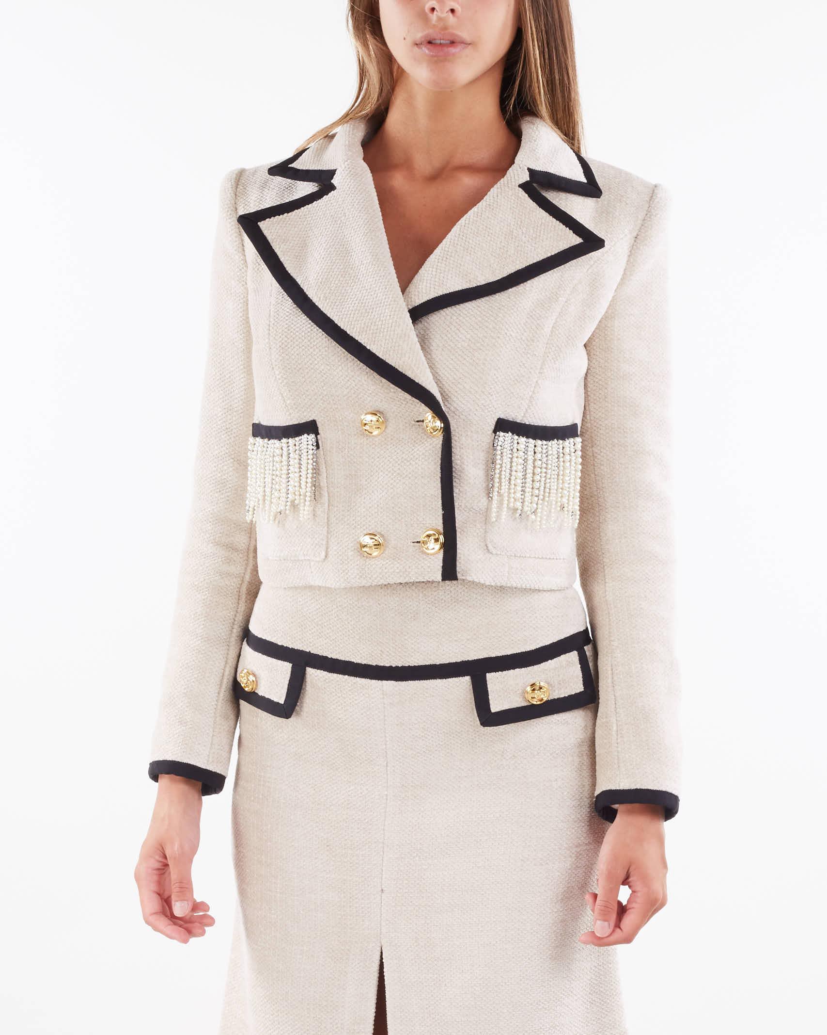 Giacca elegante in velluto con perle e strass Elisabetta Franchi ELISABETTA FRANCHI | Giacca | GI01316E2E84