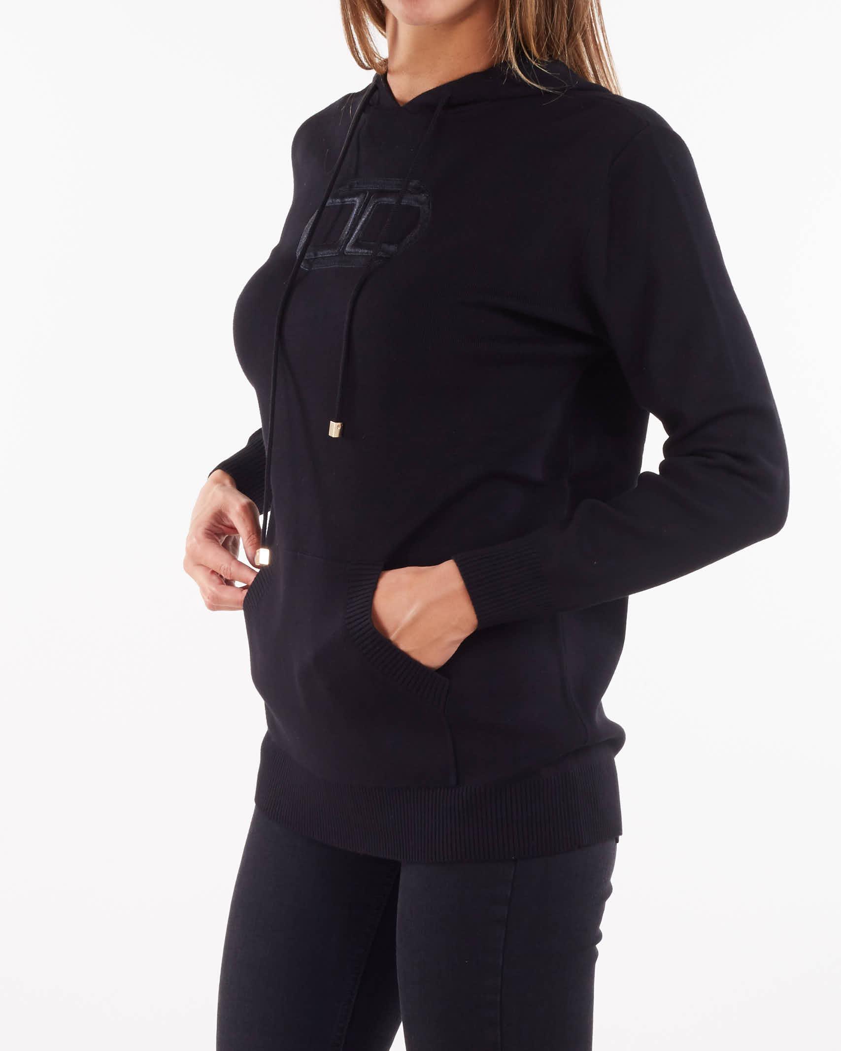 Felpa in maglia con cappuccio e marsupio Elisabetta Franchi ELISABETTA FRANCHI | Maglia | MK19S16E2110
