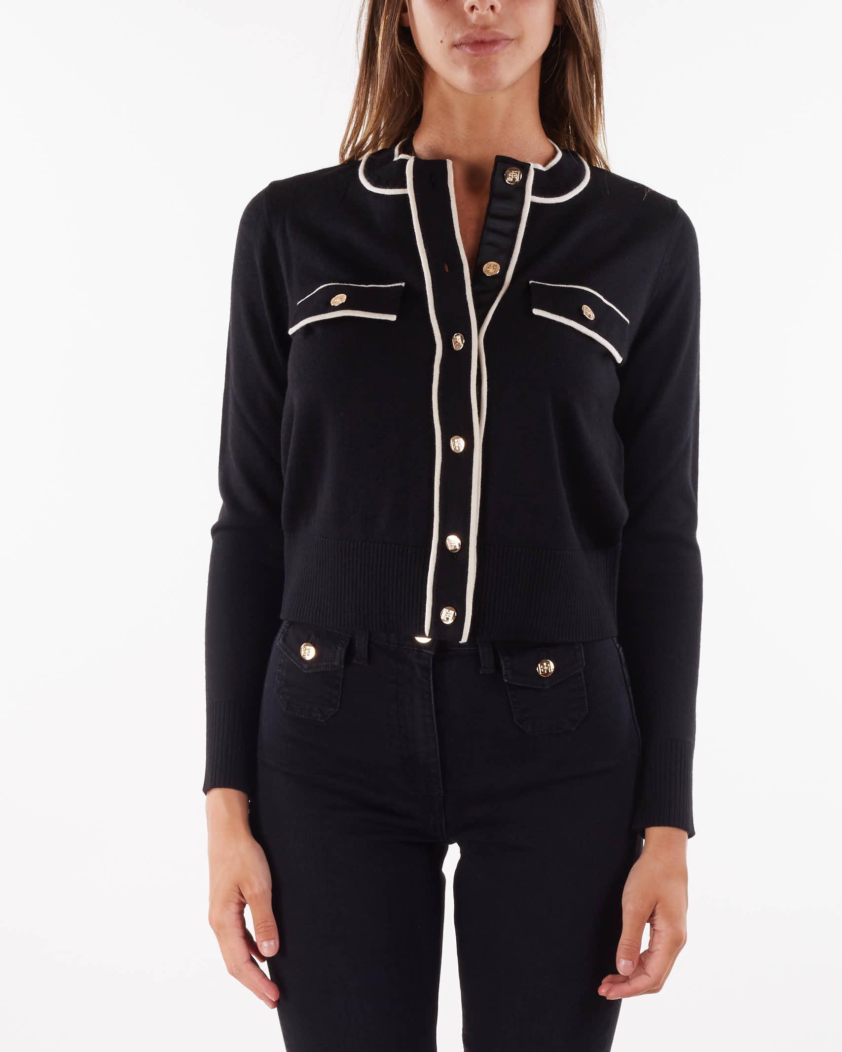 Cardigan con profili a contrasto e bottoni dorati Elisabetta Franchi ELISABETTA FRANCHI   Maglia   MK31S16E2685