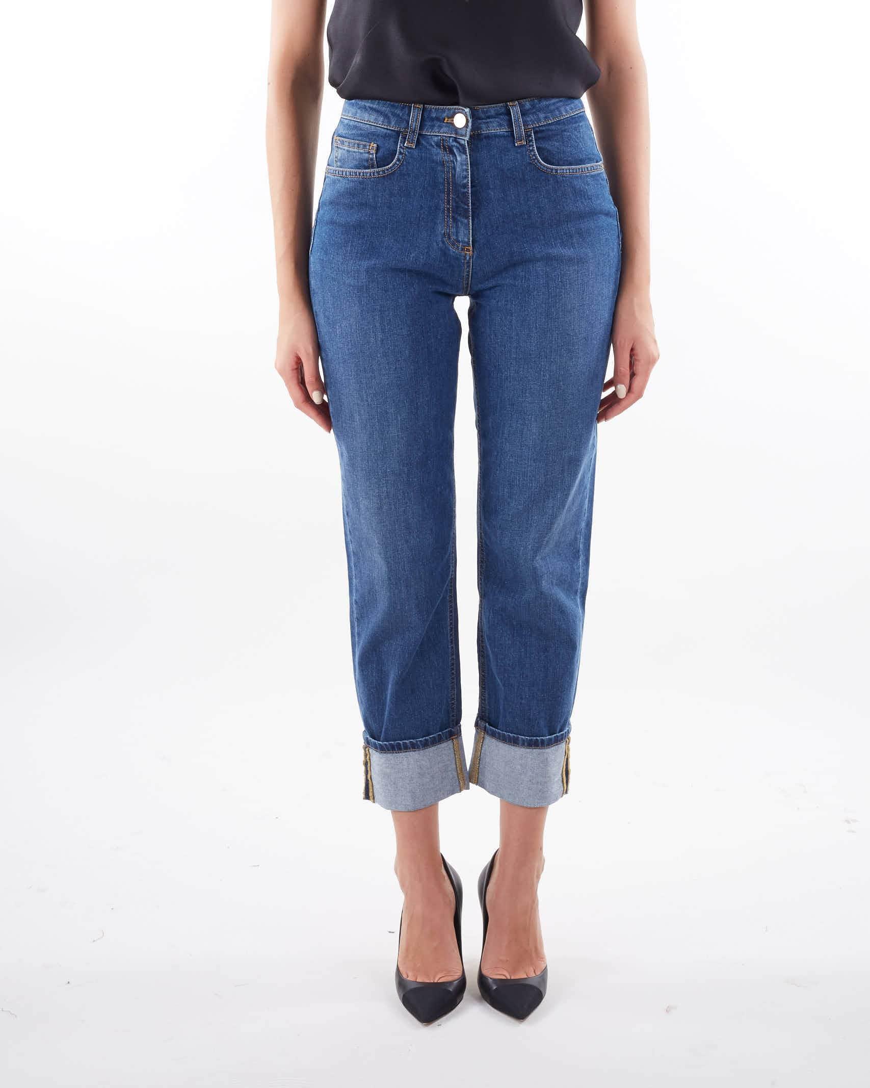 Jeans mom fit con logo ricamato Elisabetta Franchi ELISABETTA FRANCHI | Jeans | PJ10D16E2139