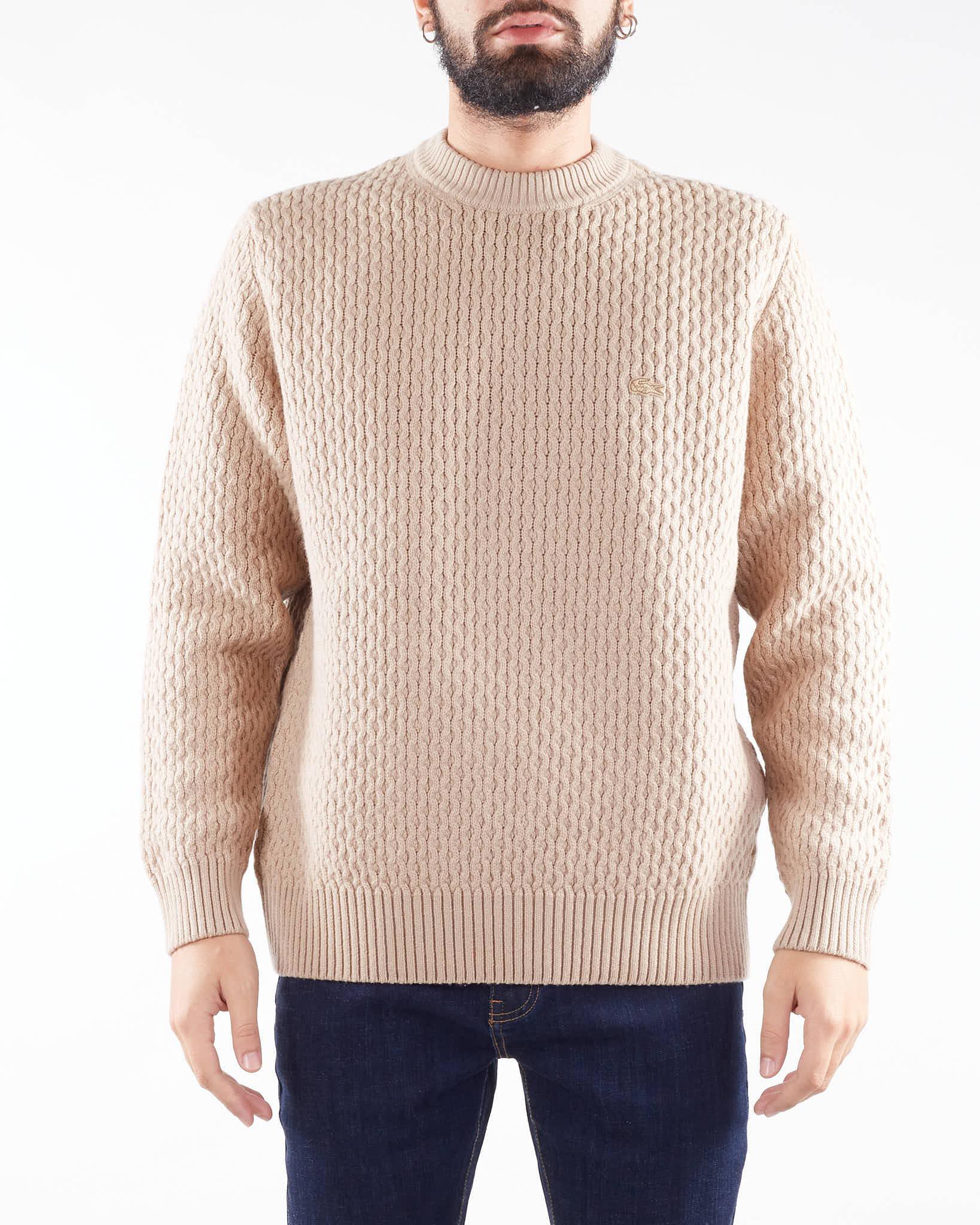 Maglia a trecce di lana e cashmere con girocollo Lacoste LACOSTE   Maglia   AH6799GE2