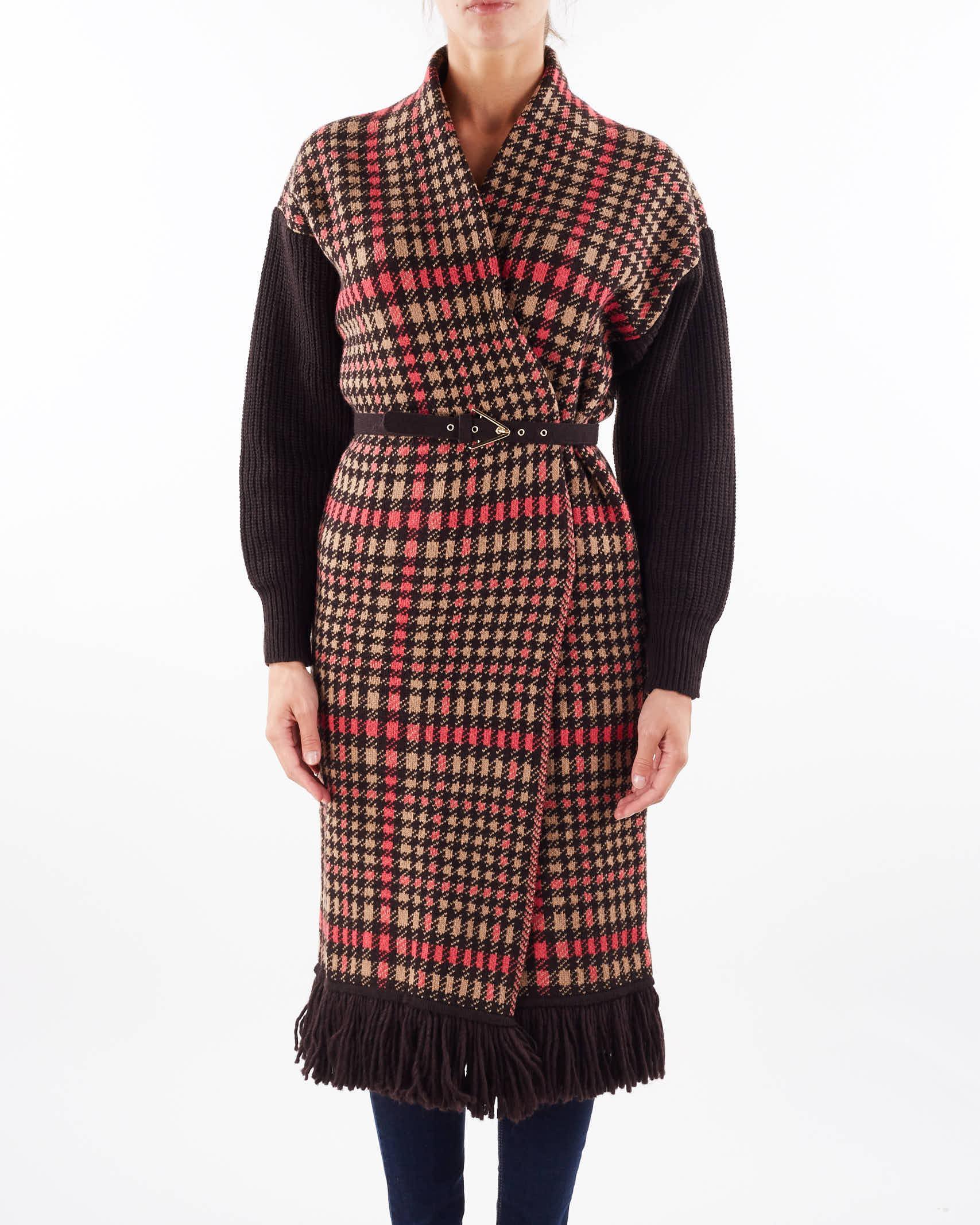 Cappotto jacquard in lana con frange e cintura Simona Corsellini SIMONA CORSELLINI   Cardigan   CPE0101C0260004519