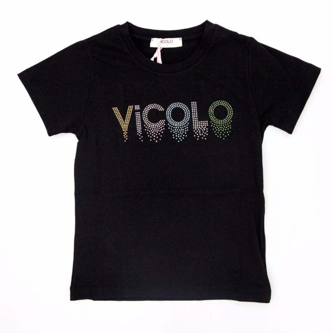 T-shirt nera Vicolo con scritta VICOLO | T-shirt | M0100NERO