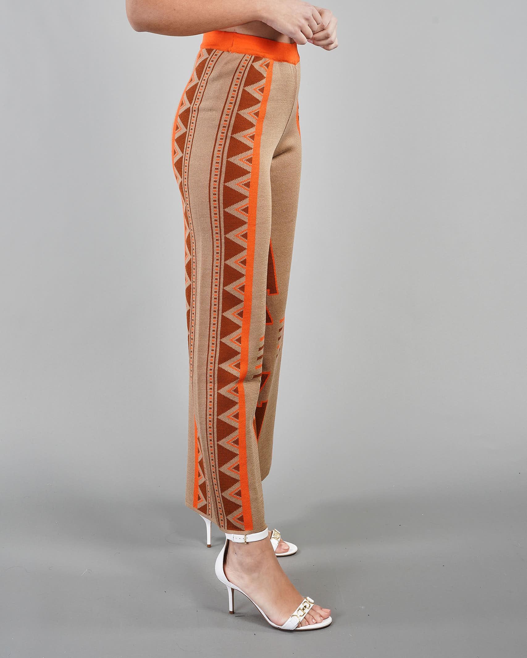 Pantalone cropped a fantasia geometrica Akep AKEP   Pantalone   KE1037BEIGE