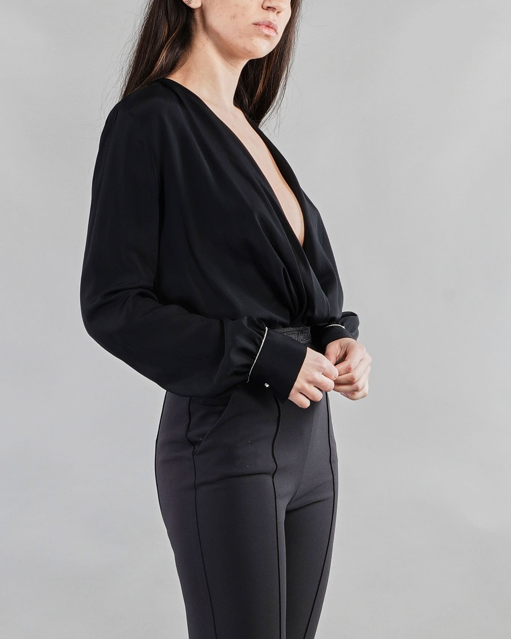 Camicia a body con applicazione sui polsini Anna Molinari ANNA MOLINARI | Camicia | 24190140