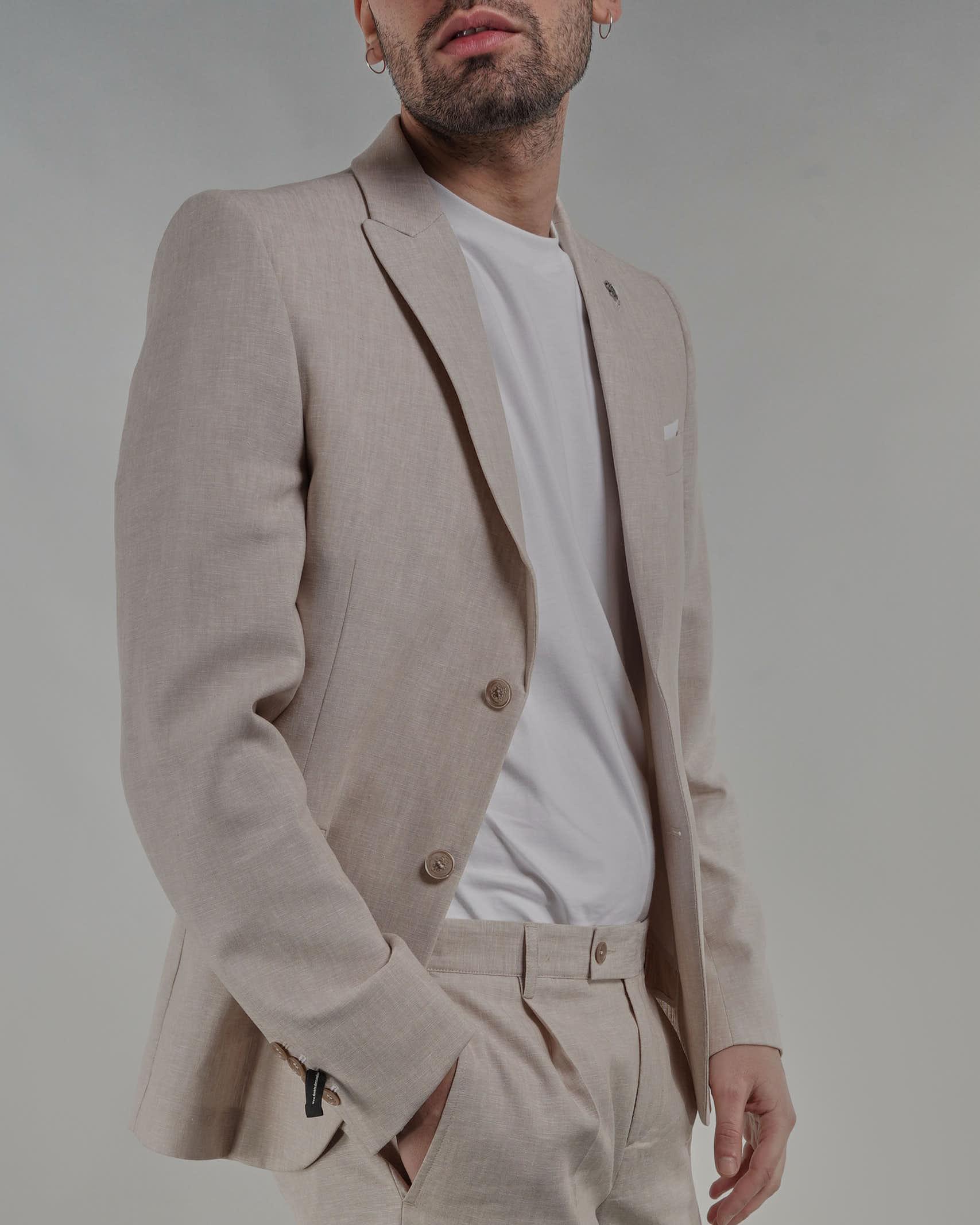 Giacca in misto lino monopetto Daniele Alessandrini DANIELE ALESSANDRINI   Giacca   G3323S2353415