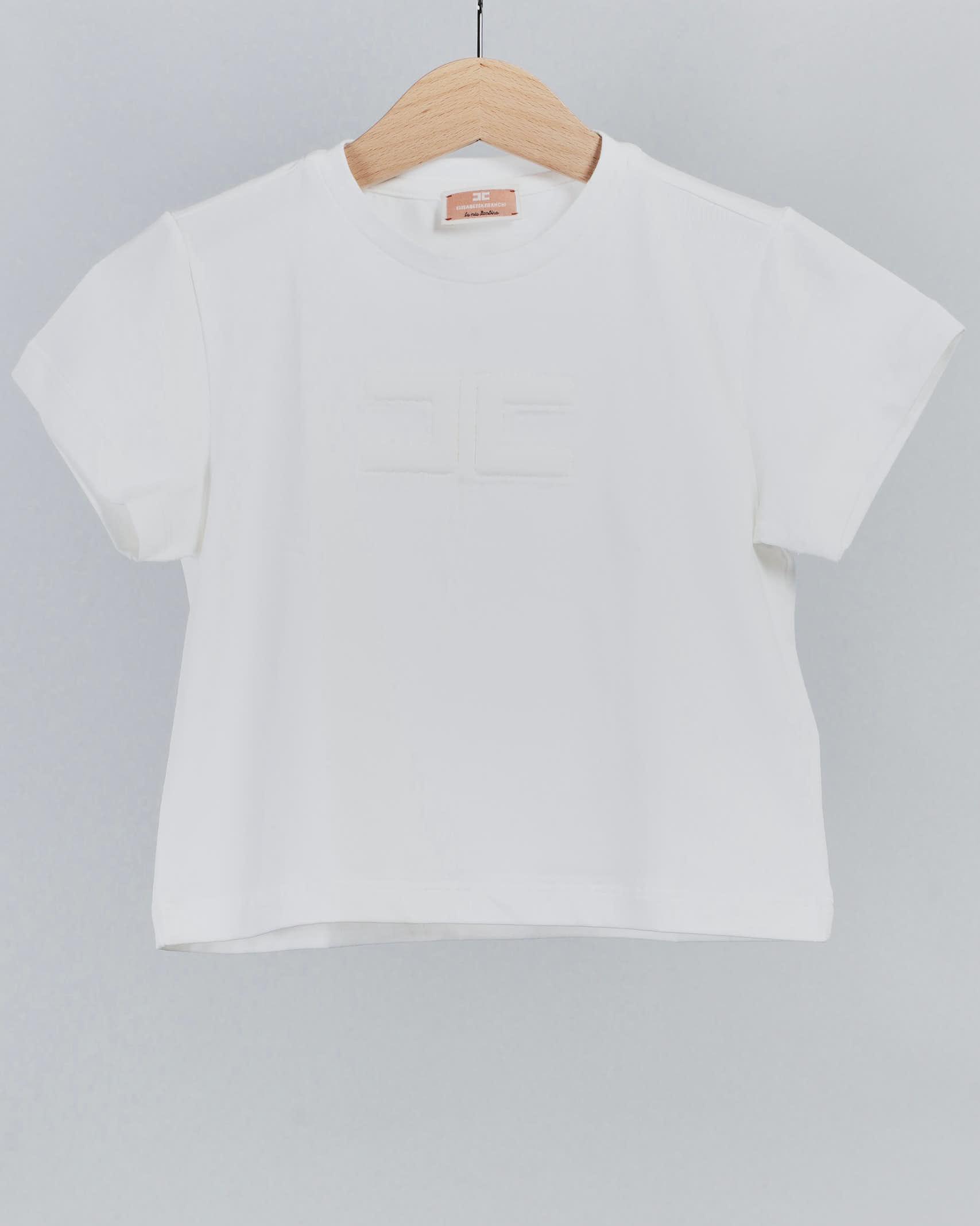 T-shirt basic con logo Elisabetta Franchi La Mia Bambina ELISABETTA FRANCHI LA MIA BAMBINA | T-shirt | EFTS130JE95WE02522