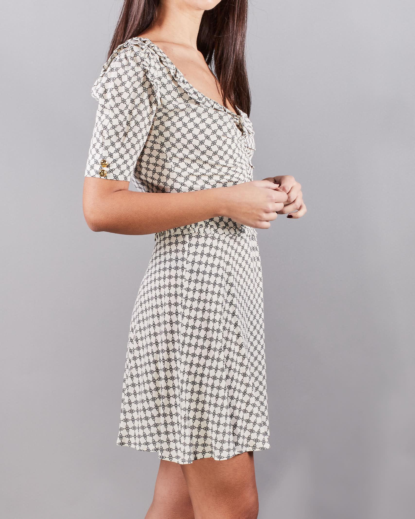 Mini abito in georgette stampa morsetto piccolo Elisabetta Franchi ELISABETTA FRANCHI   Abito   AB09311E2E84