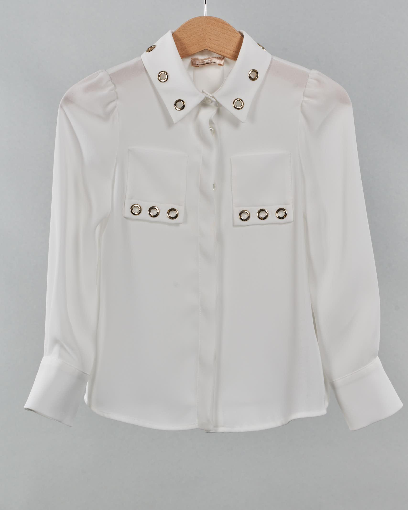 Camicia con borchie ad anello Elisabetta Franchi La Mia Bambina ELISABETTA FRANCHI LA MIA BAMBINA | Camicia | CA85GA3572