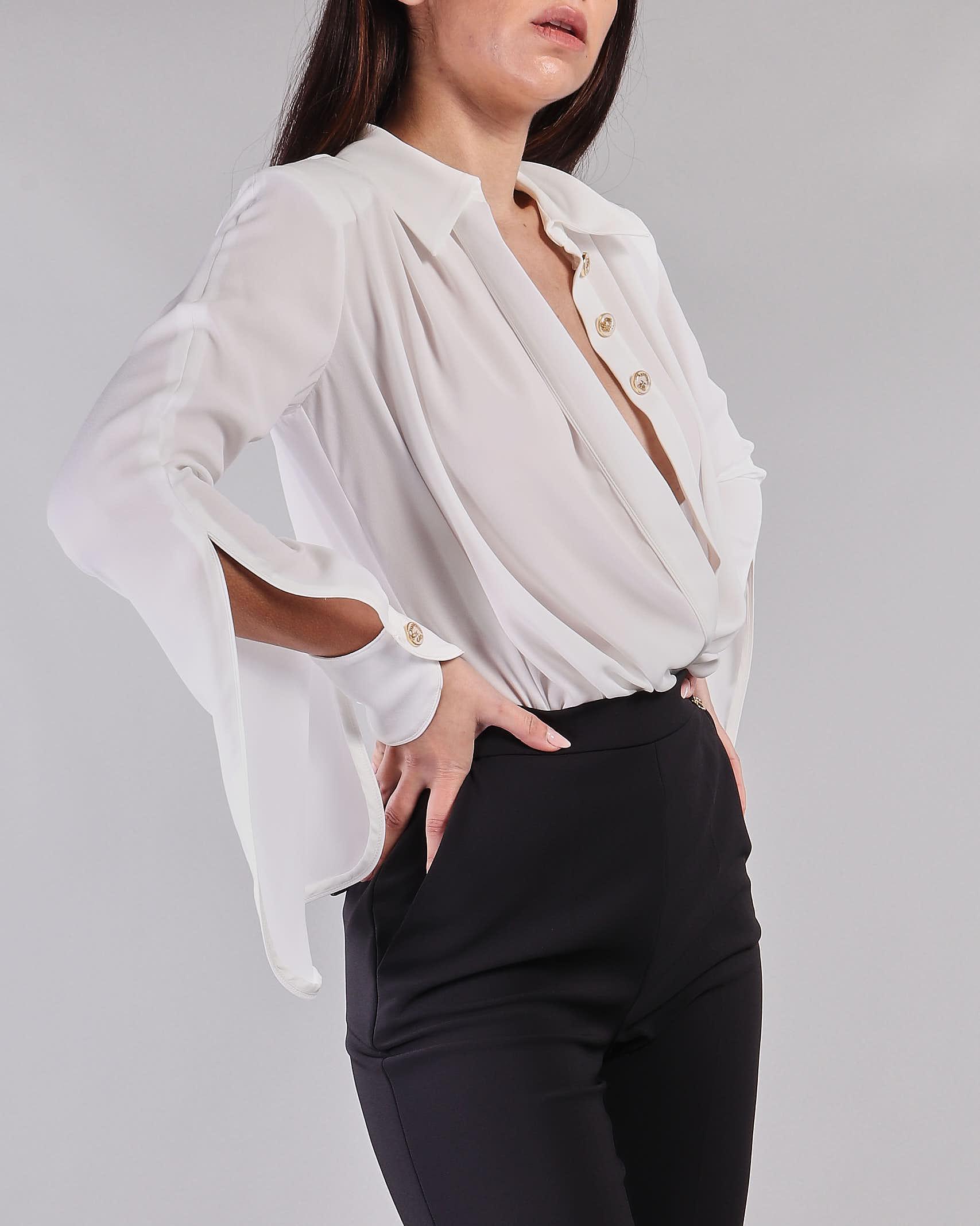 Camicia a body in georgette incrociata Elisabetta Franchi ELISABETTA FRANCHI   Camicia   CB01211E2360