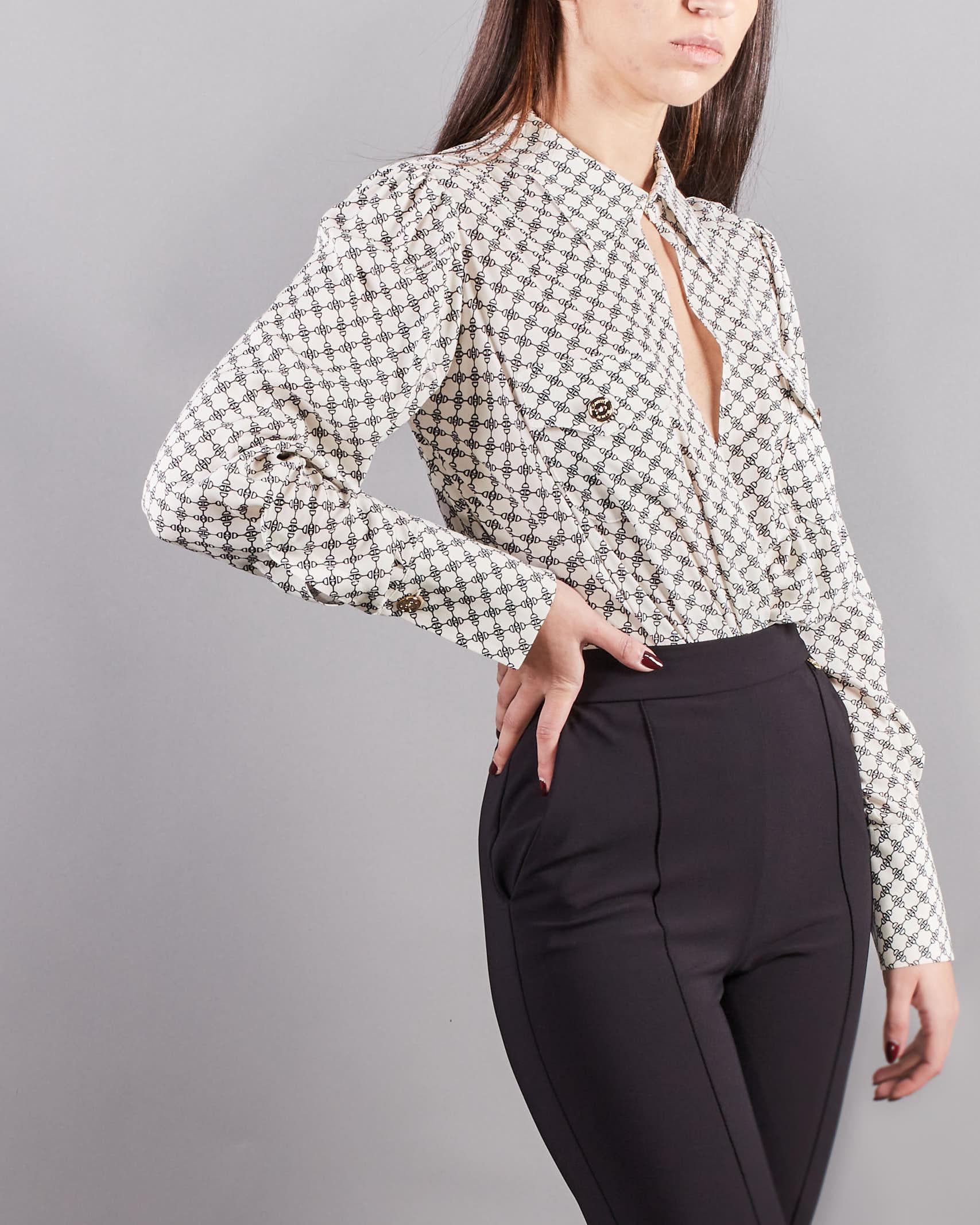 Camicia a body stampa morsetto con tasche Elisabetta Franchi ELISABETTA FRANCHI   Camicia   CB01411E2E84