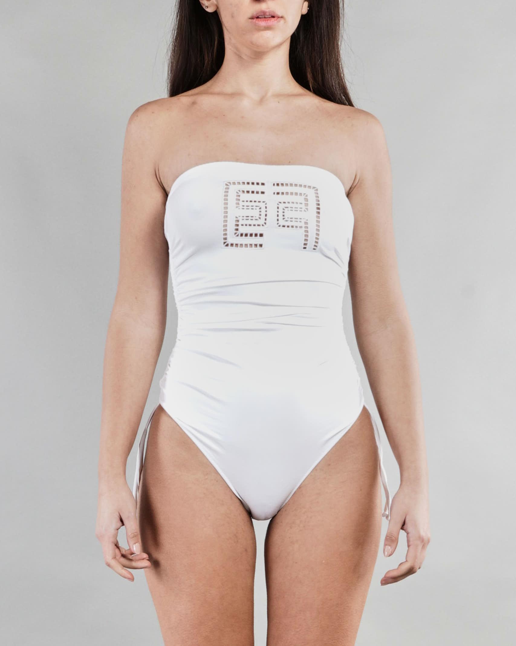 Bikini intero a fascia con ricamo ajour Elisabetta Franchi ELISABETTA FRANCHI | Costume | CS38B11E2360