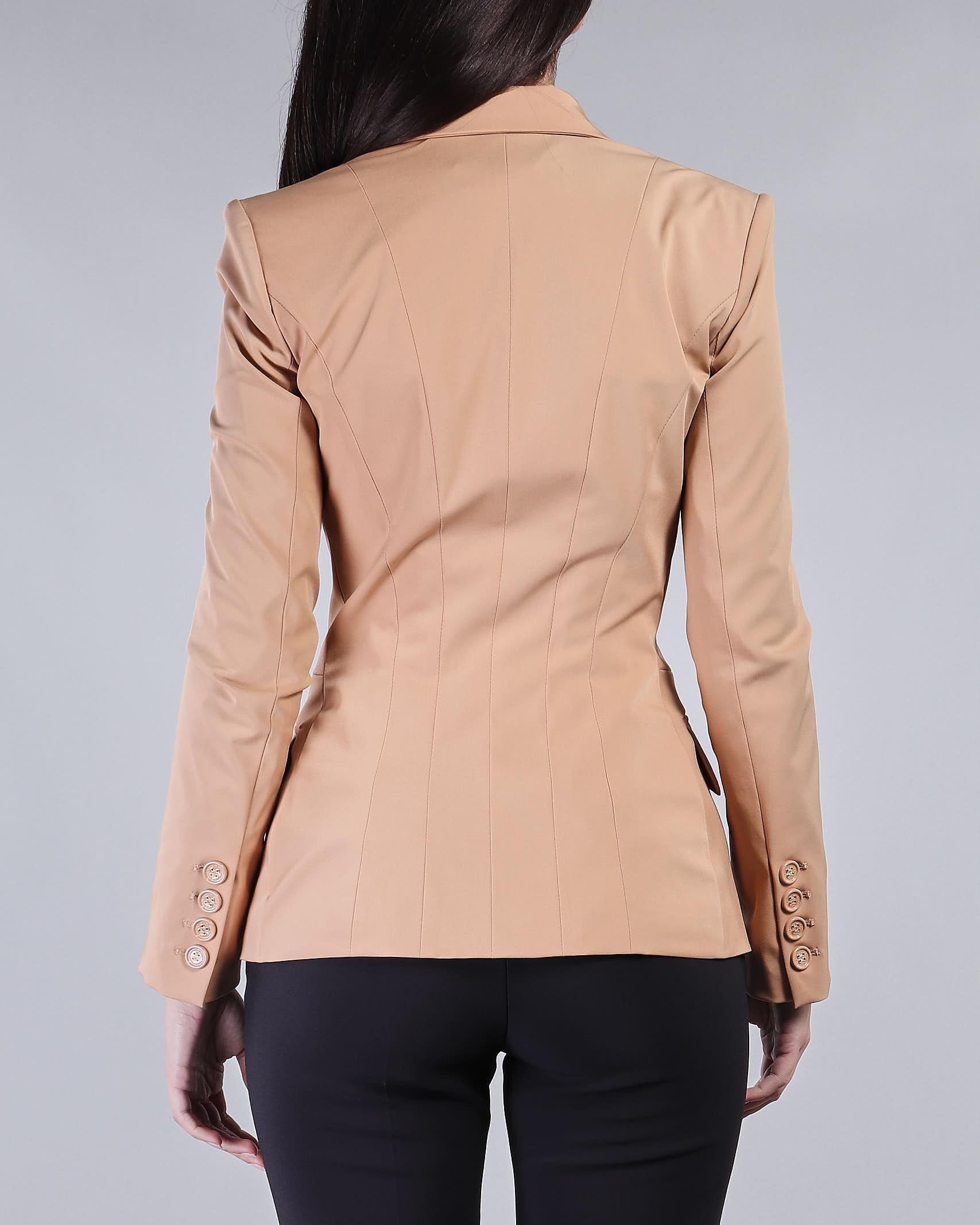 Giacca con scollo e accessorio morsetto oro light Elisabetta Franchi ELISABETTA FRANCHI | Giacca | GI96911E2470