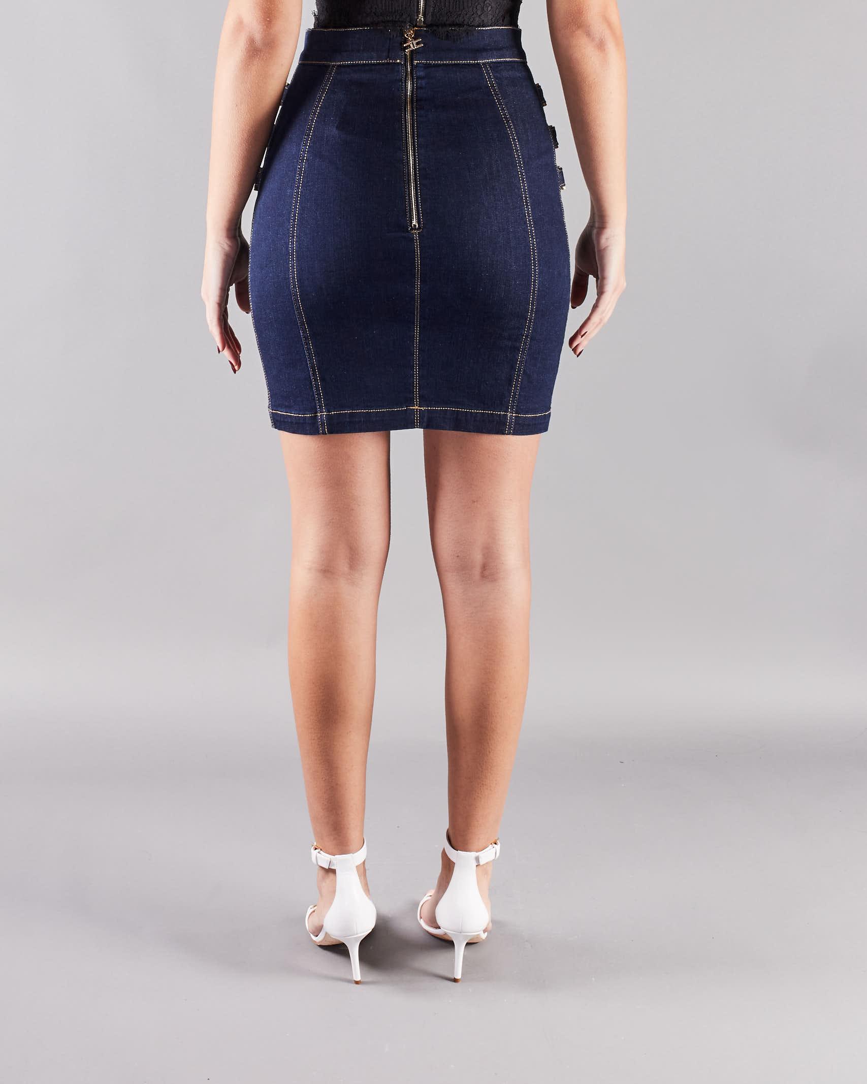 Mini gonna in jeans con morsetti light gold Elisabetta Franchi ELISABETTA FRANCHI | Gonna | GJ13S11E2104
