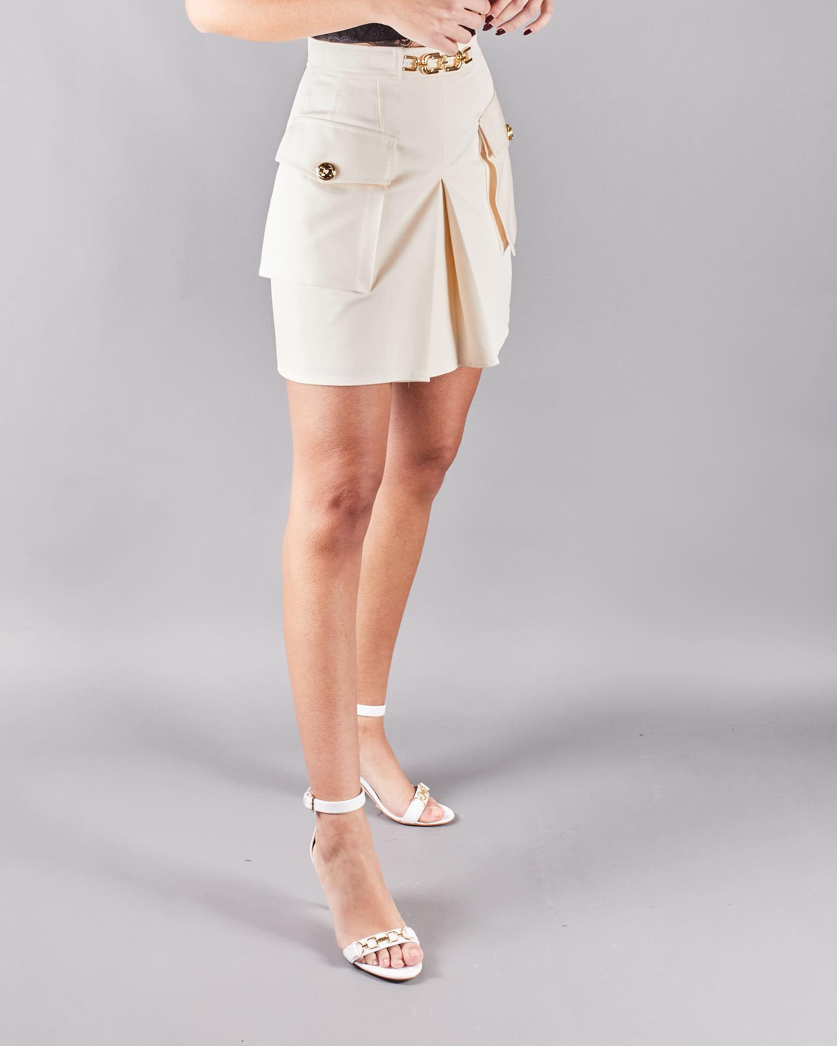 Gonna mini con doppia tasca e morsetto light gold Elisabetta Franchi ELISABETTA FRANCHI | Gonna | GO47111E2193
