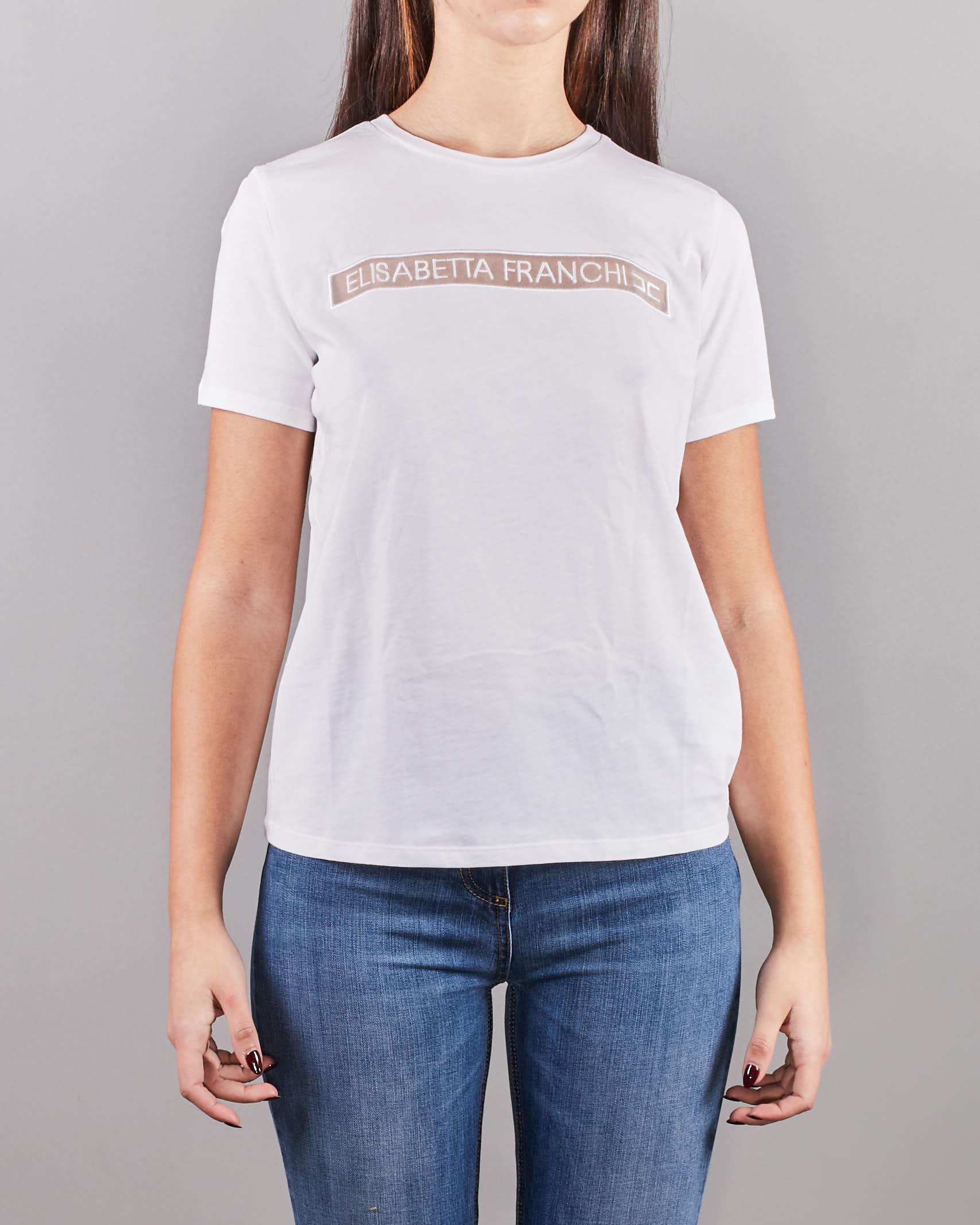 T-shirt con logo ricamato Elisabetta Franchi ELISABETTA FRANCHI | Maglia | MA18411E2270