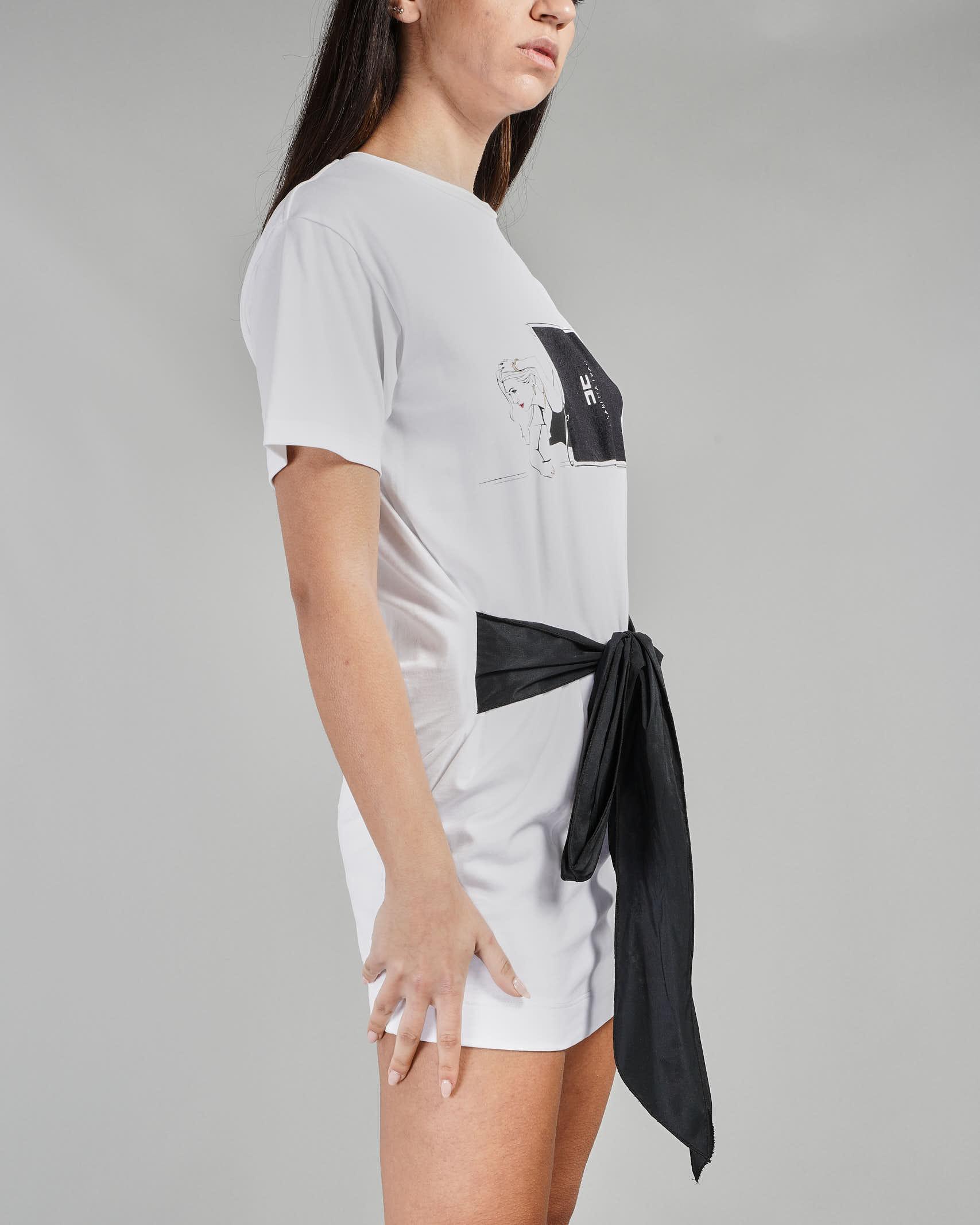 T-shirt lunga con stampa shopper e fiocco Elisabetta Franchi ELISABETTA FRANCHI | T-shirt | MA18911E2270