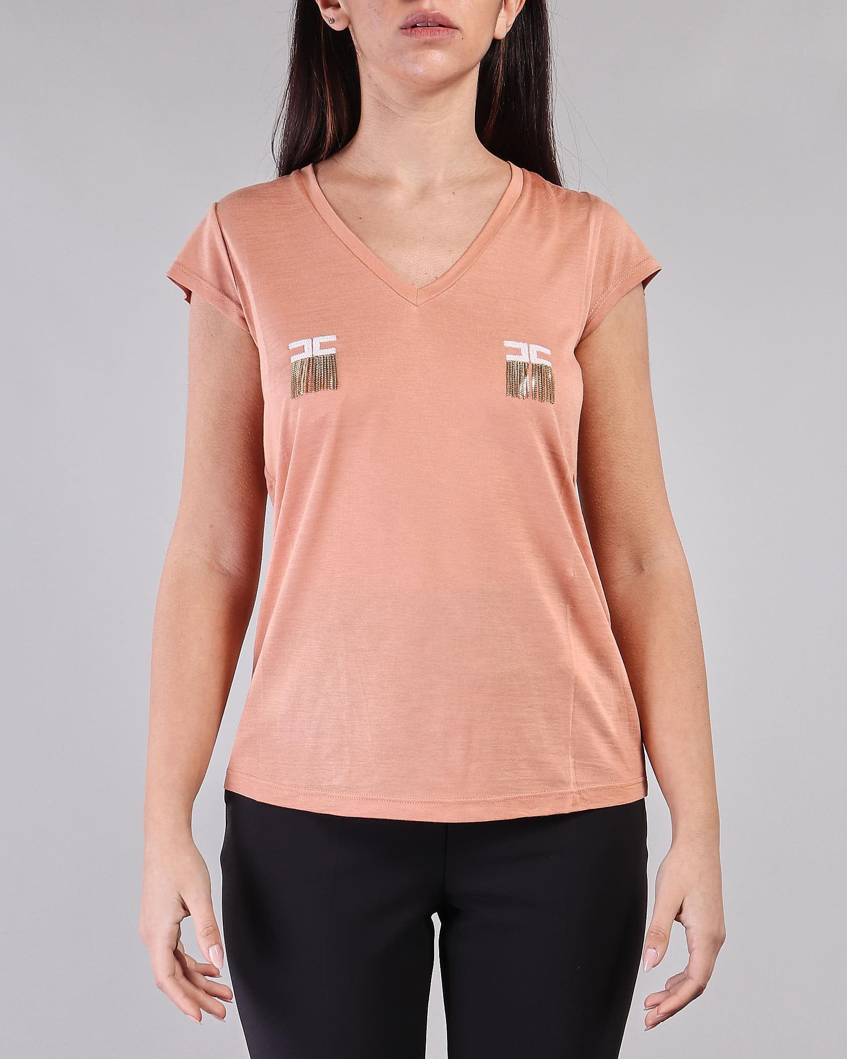 T-shirt manica corta con logo e micro catene Elisabetta Franchi ELISABETTA FRANCHI   T-shirt   MA19711E2W71