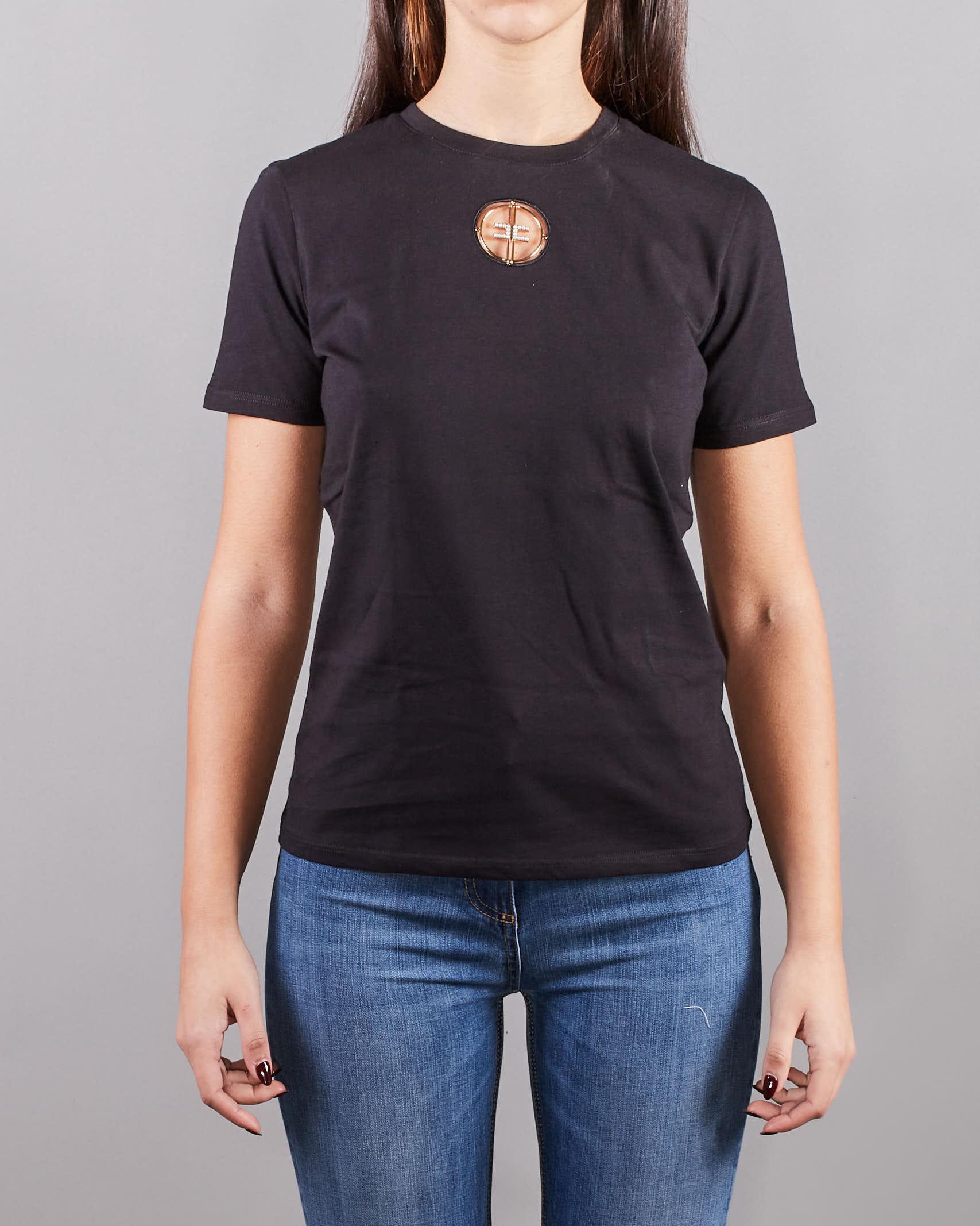 T-shirt con logo in strass ricamato Elisabetta Franchi ELISABETTA FRANCHI   T-shirt   MA25N11E2110