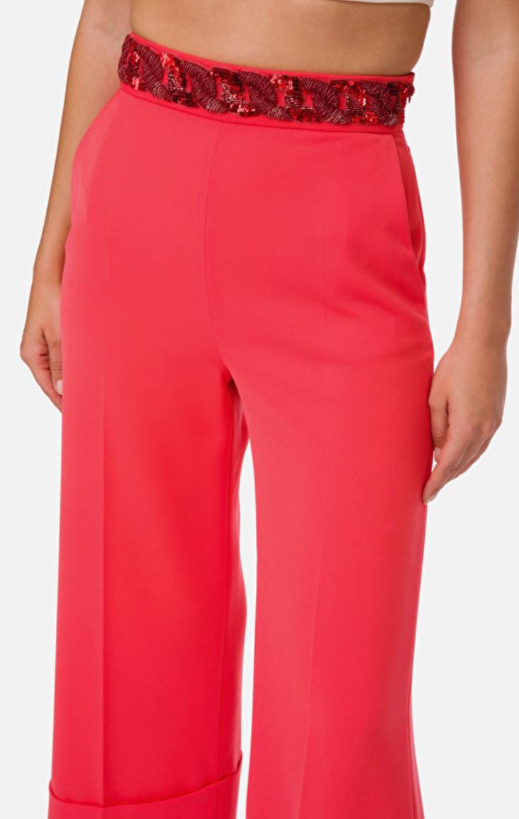 Pantaloni in crèpe con inserto in paillettes Elisabetta Franchi ELISABETTA FRANCHI | Pantalone | PA33302E2V84