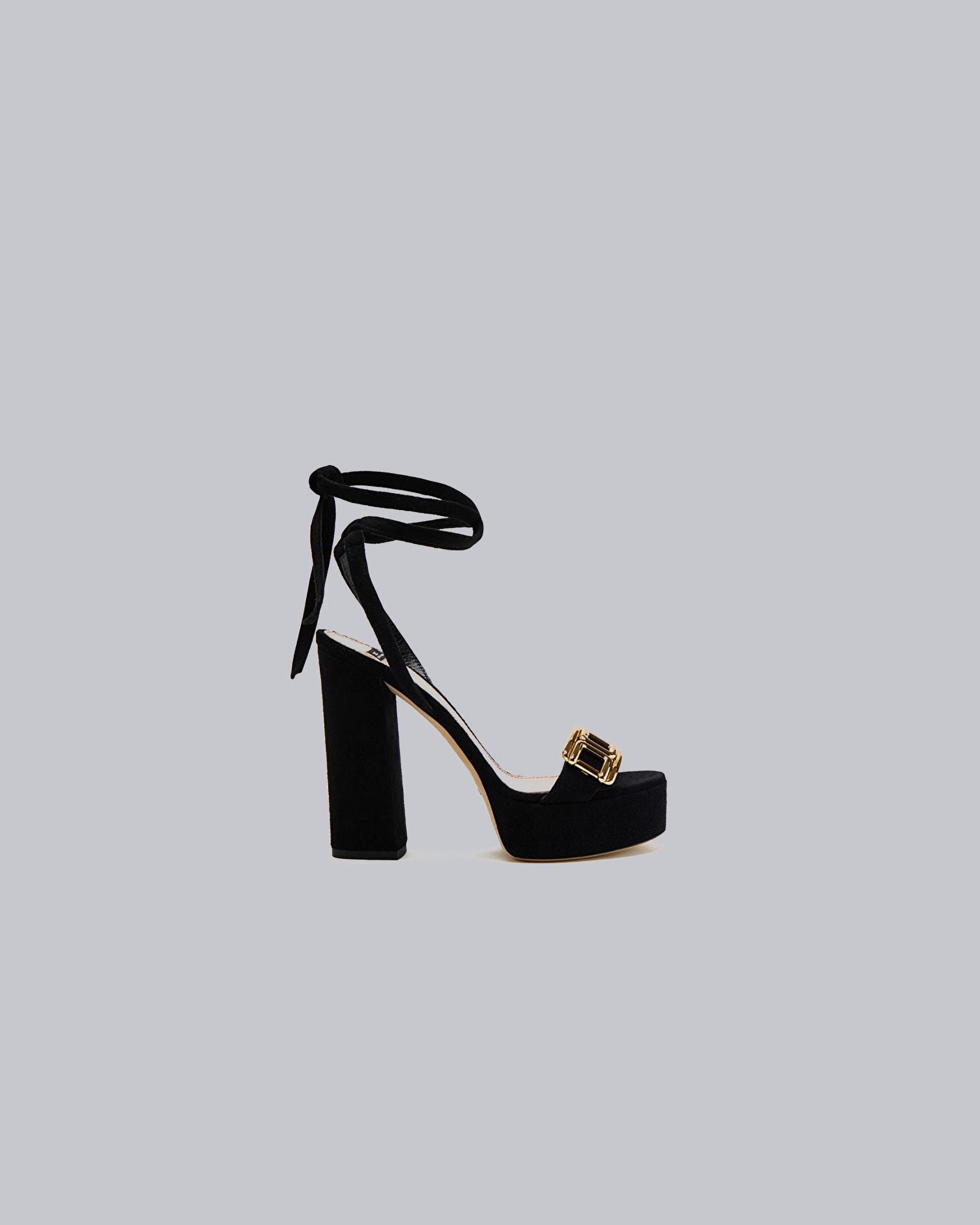 Sandalo plateau con logo gold Elisabetta Franchi ELISABETTA FRANCHI | Scarpa con tacco | SA89L11E2110