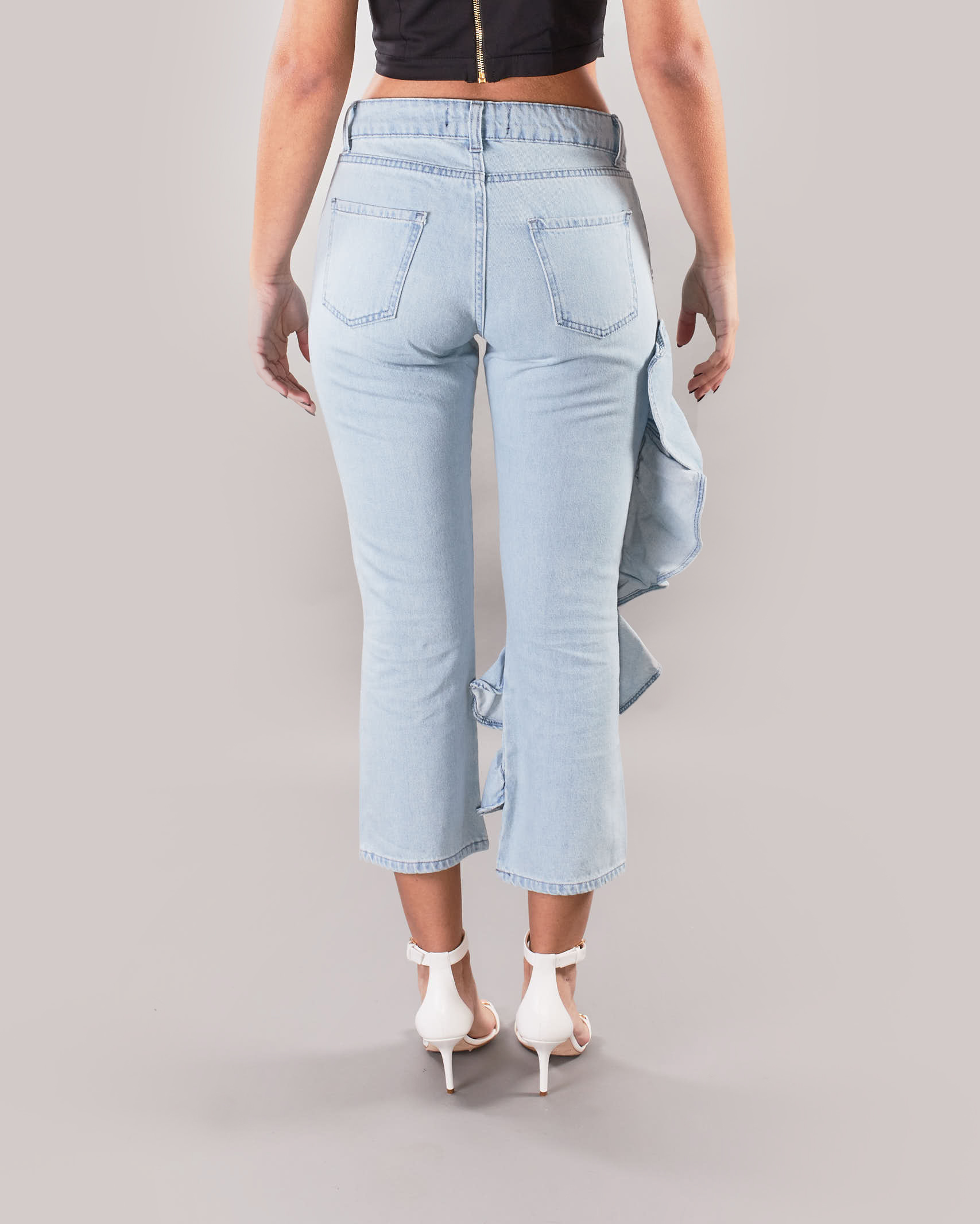 Jeans capri con rouches Giulia N GIULIA N | Pantalone | GE2117DENIM