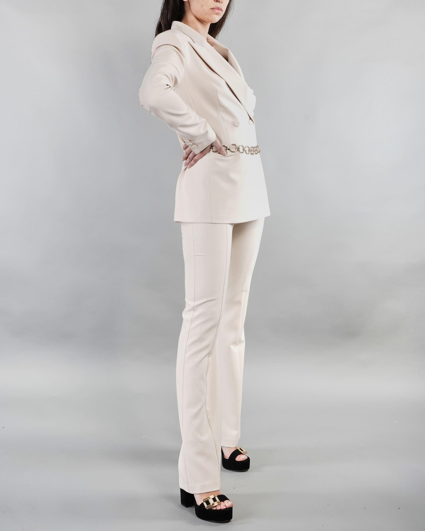 Giacca doppiopetto con revers a lancia e cintura Imperial IMPERIAL | Giacca | JY21BEXCREMA