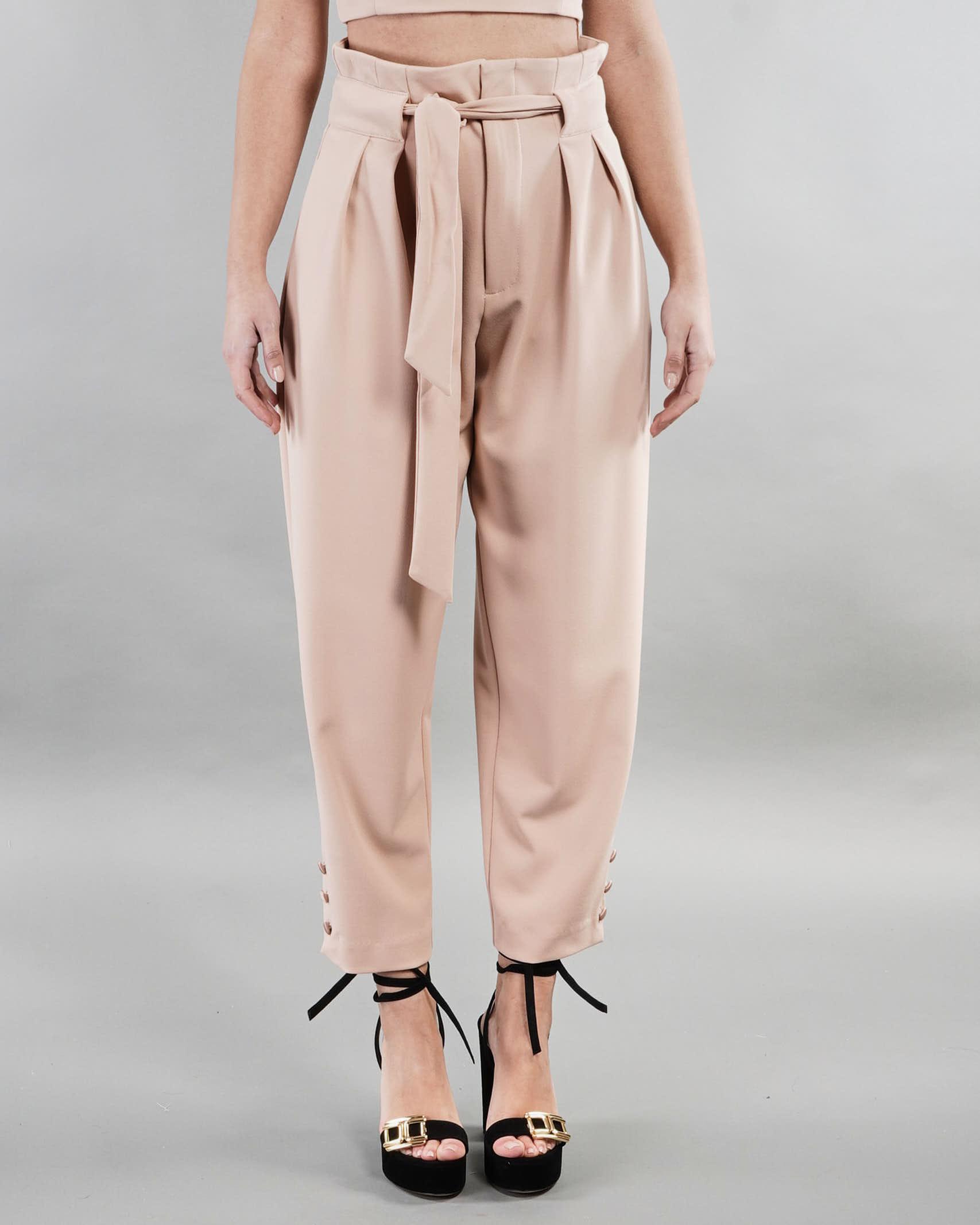 Pantalone curved line con cintura e pences Imperial IMPERIAL | Pantalone | P2E6BBKCAMMELLO