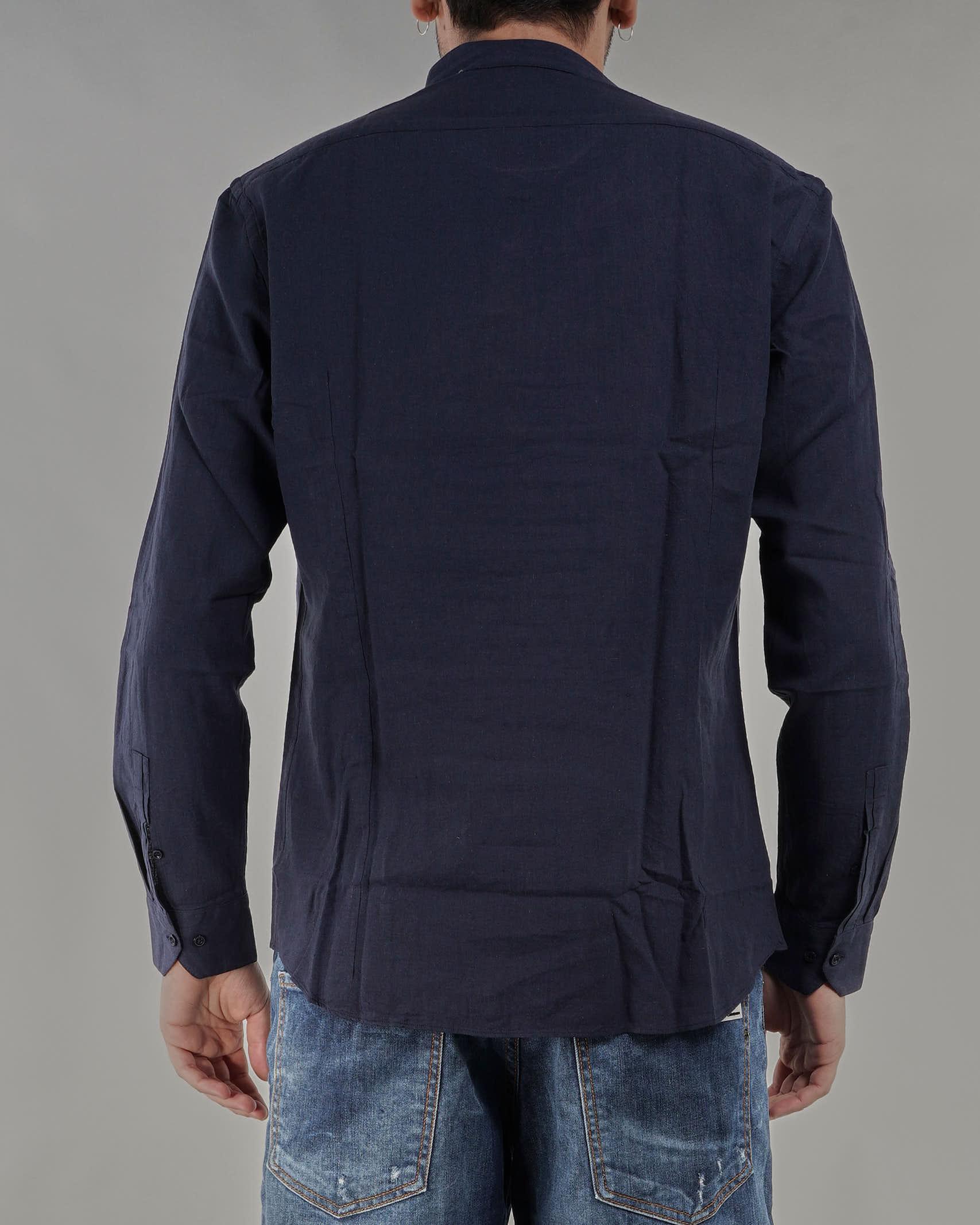 Camicia in lino con collo coreano Paolo Pecora PAOLO PECORA   Camicia   G081T3516685