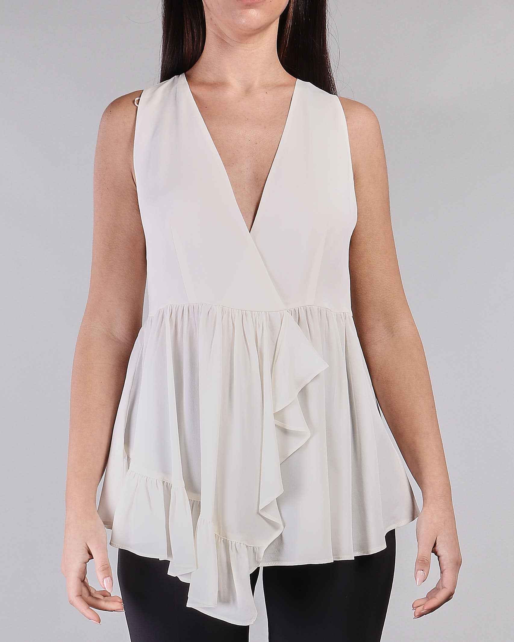 Camicia senza maniche asimmetrico con rouches Twinset TWIN SET | Camicia | TT2144282