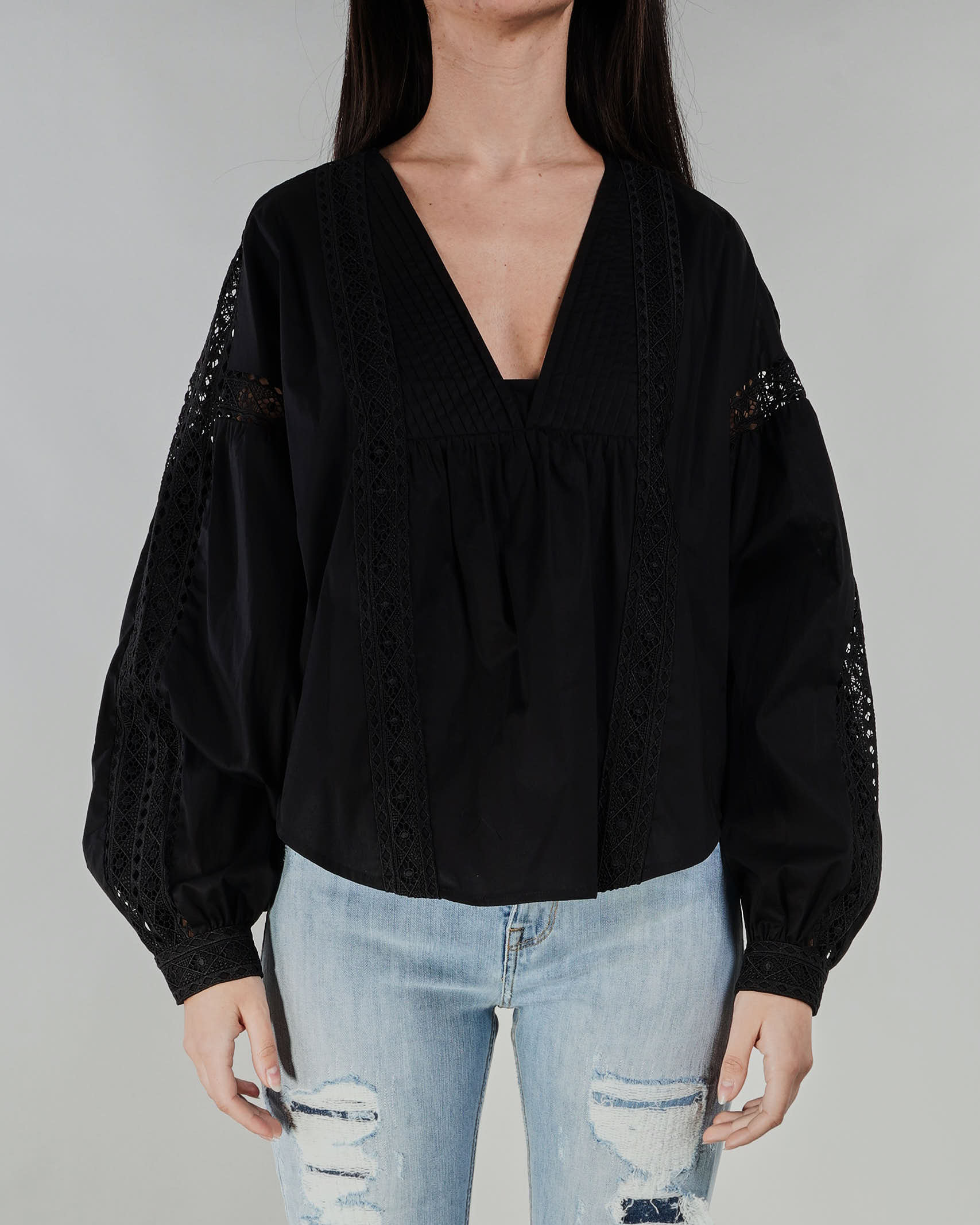 Blusa in popeline con pizzo Twinset TWIN SET | Blusa | TT24636