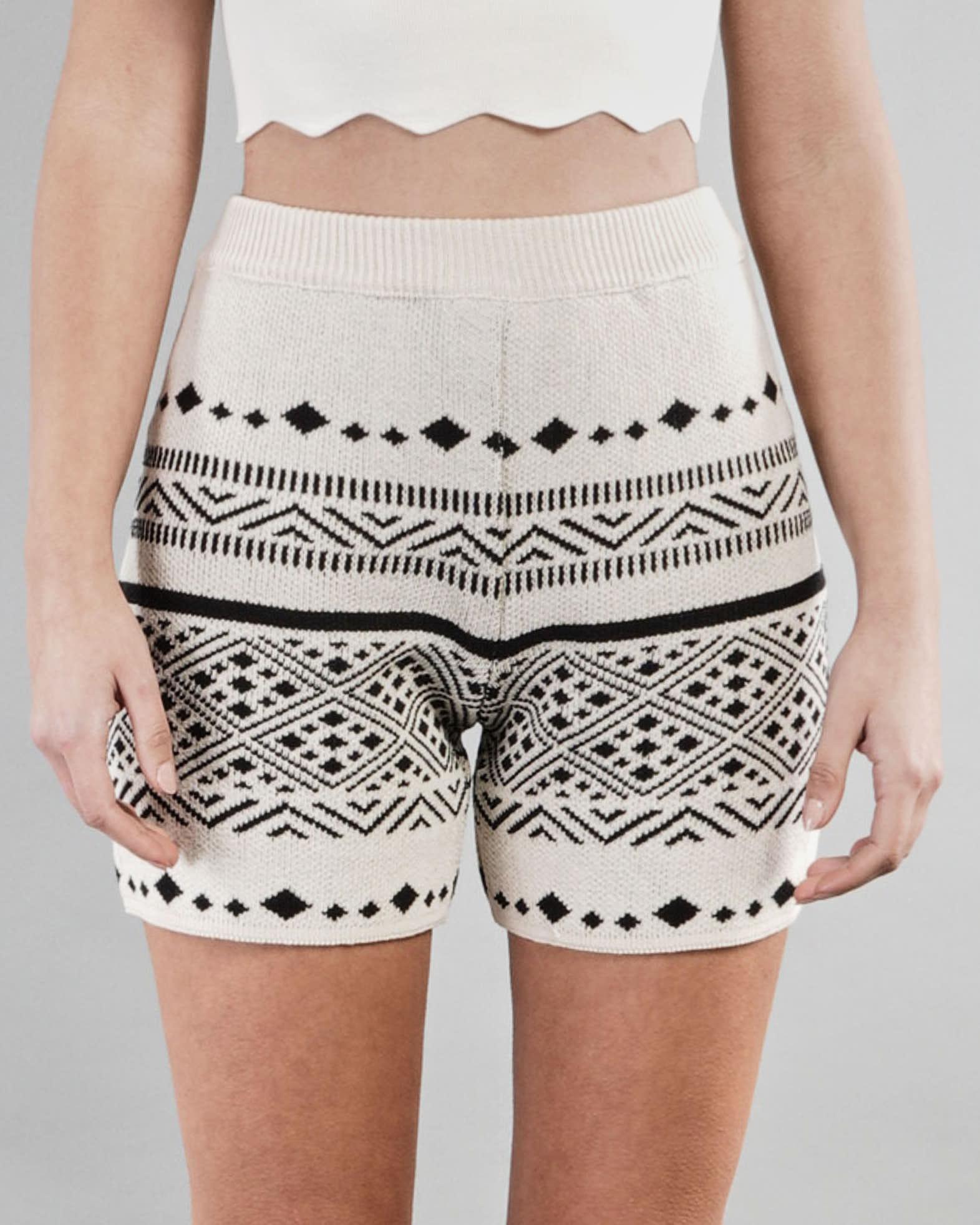 Shorts in maglia a fantasia Vicolo VICOLO   Shorts   7091HBEIGE-NERO