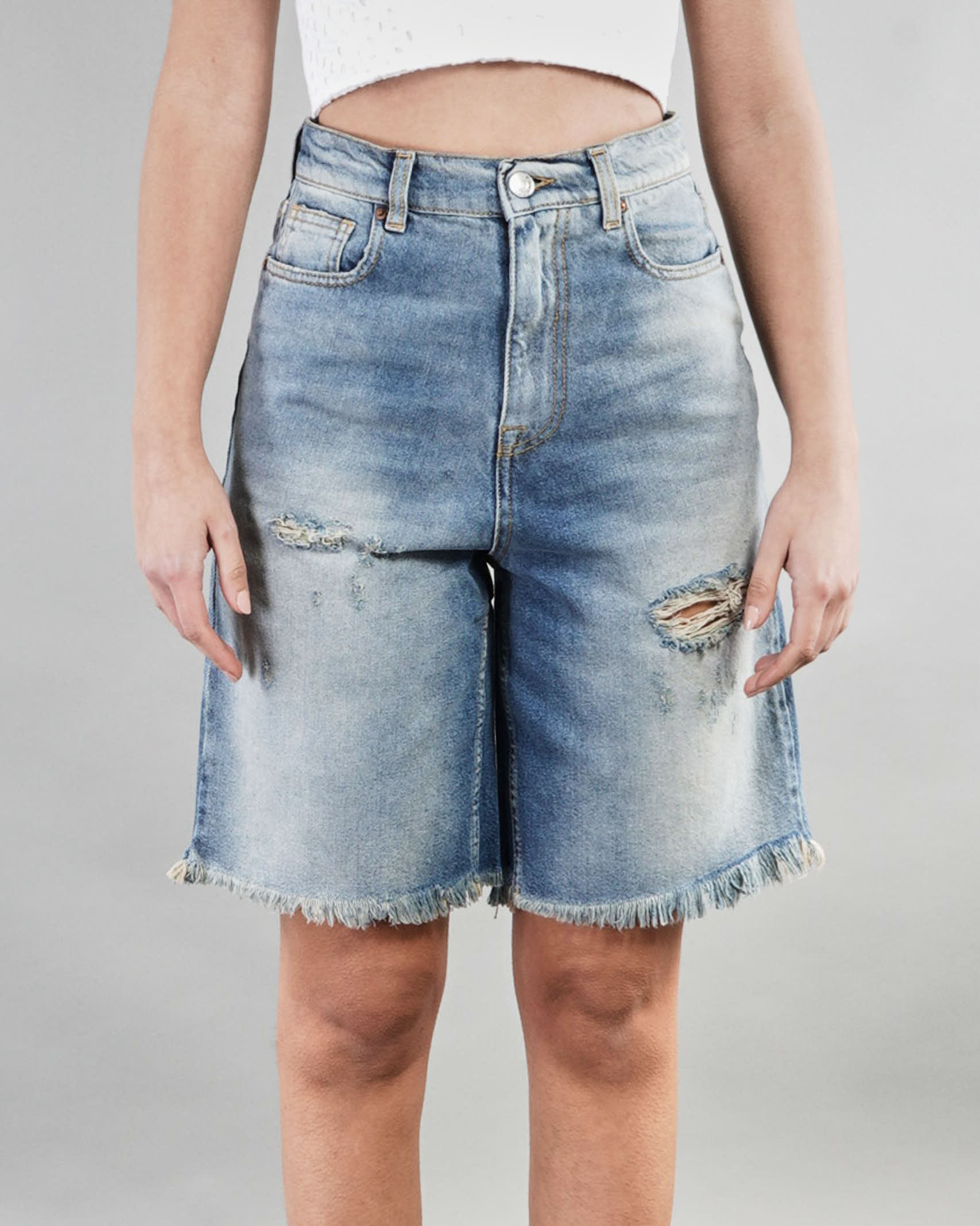Bermuda con rotture sfrangiato Vicolo VICOLO | Jeans | DH0029DENIM
