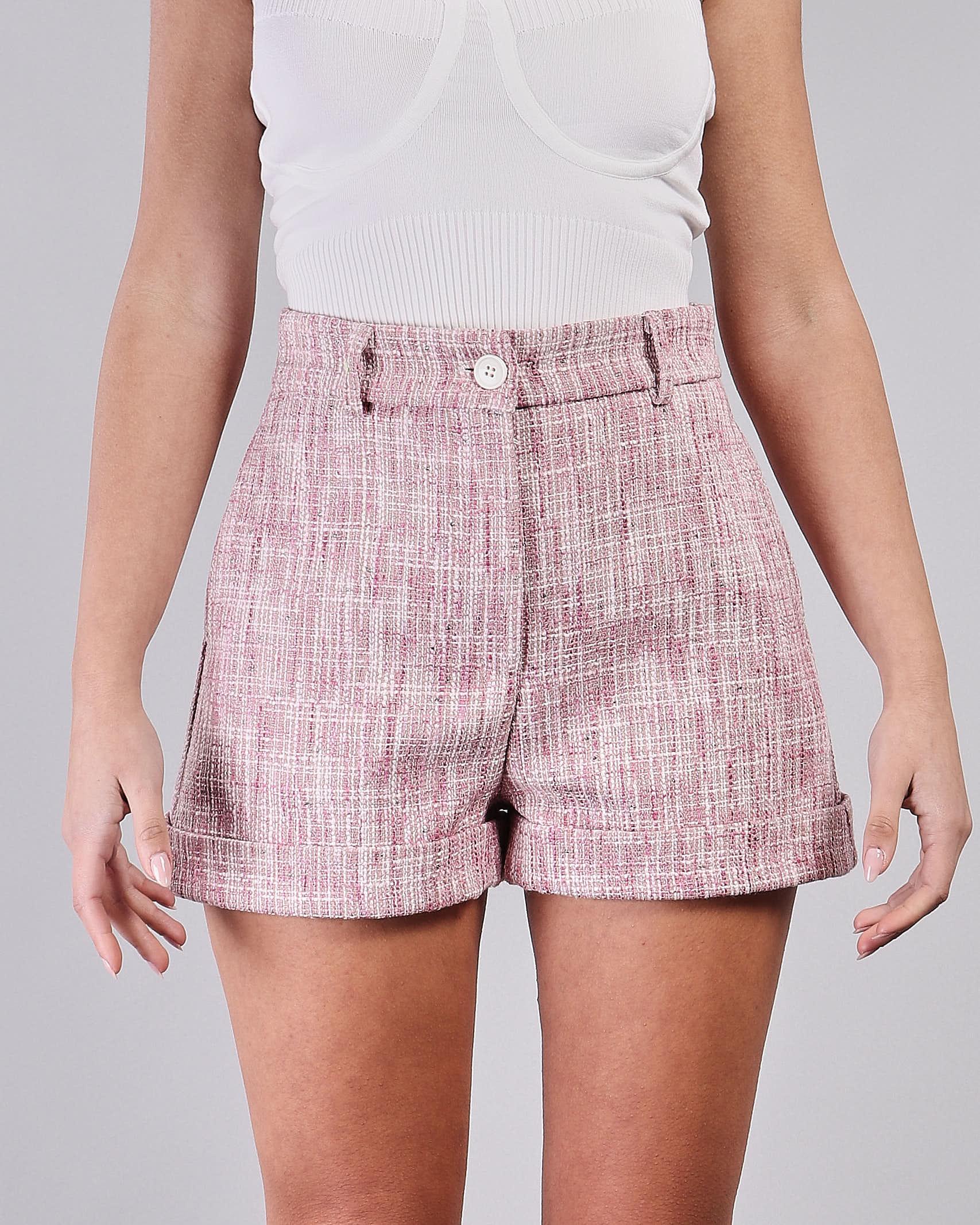Shorts con risvolti a fantasia Vicolo VICOLO   Shorts   TH0717ROSA-BIANCO