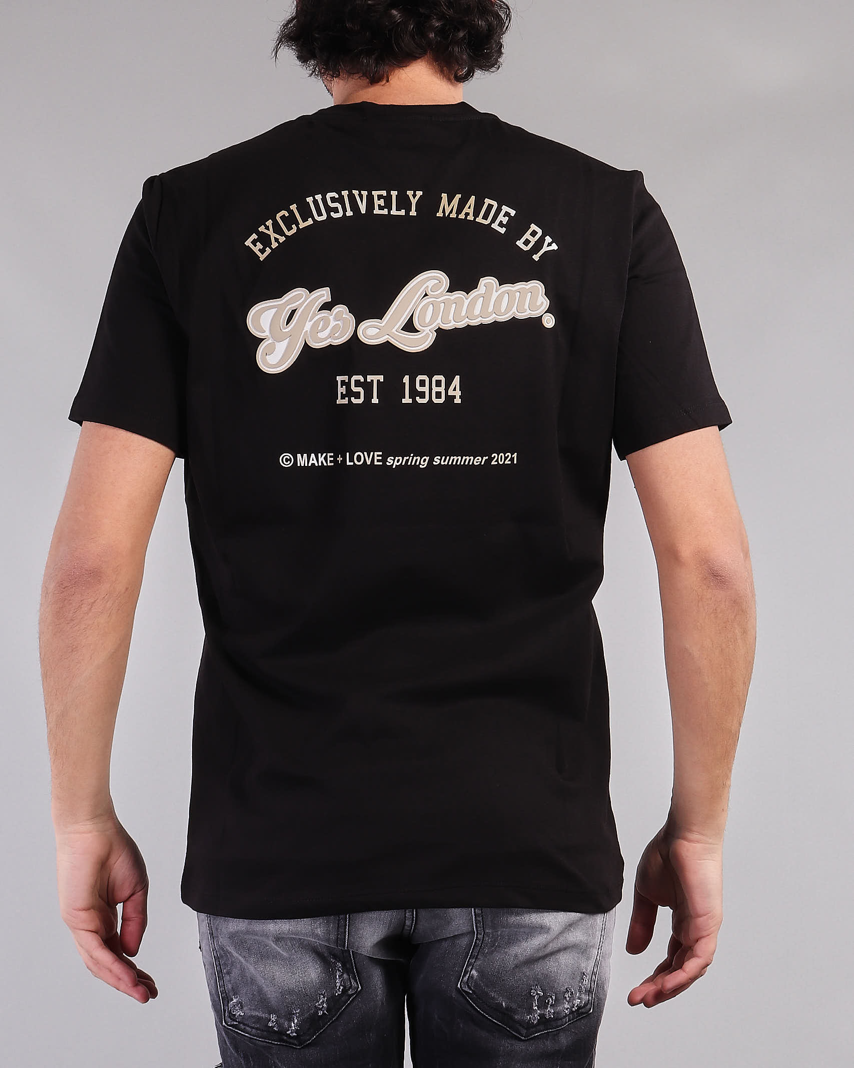 T-shirt con logo sul davanti e stampa sul retro Yes London YES LONDON | T-shirt | XM3850NERO