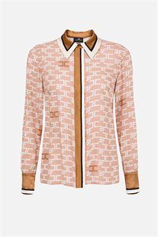 Camicia con stampa logo e piping a contrasto Elisabetta Franchi ELISABETTA FRANCHI | Camicia | CA30306E2614