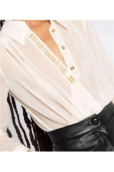 Camicia a body incrociata con frase in strass Elisabetta Franchi ELISABETTA FRANCHI | Camicia | CB00806E2193