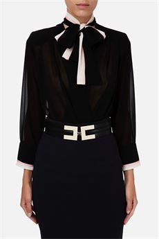 Camicia a body con fiocco removibile Elisabetta Franchi ELISABETTA FRANCHI | Camicia | CB01006E2685