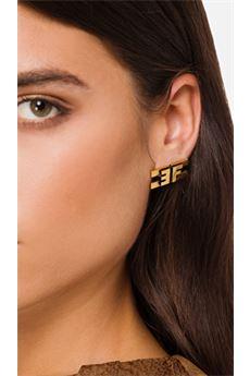 Orecchini con logo in oro invecchiato Elisabetta Franchi ELISABETTA FRANCHI | Orecchini | OR62B06E3028