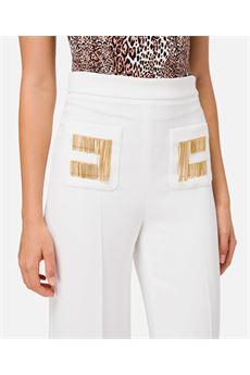 Pantalone a zampa con logo ricamato Elisabetta Franchi ELISABETTA FRANCHI | Pantalone | PA34706E2360