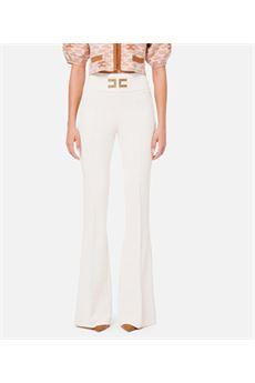 Pantalone a zampa con ricamo logo Elisabetta Franchi ELISABETTA FRANCHI | Pantalone | PA35806E2193