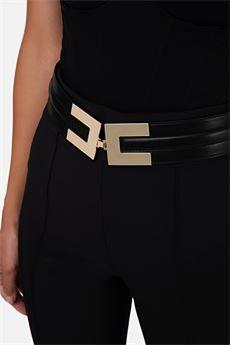 Pantalone a zampa con cintura Elisabetta Franchi ELISABETTA FRANCHI | Pantalone | PA36106E2110